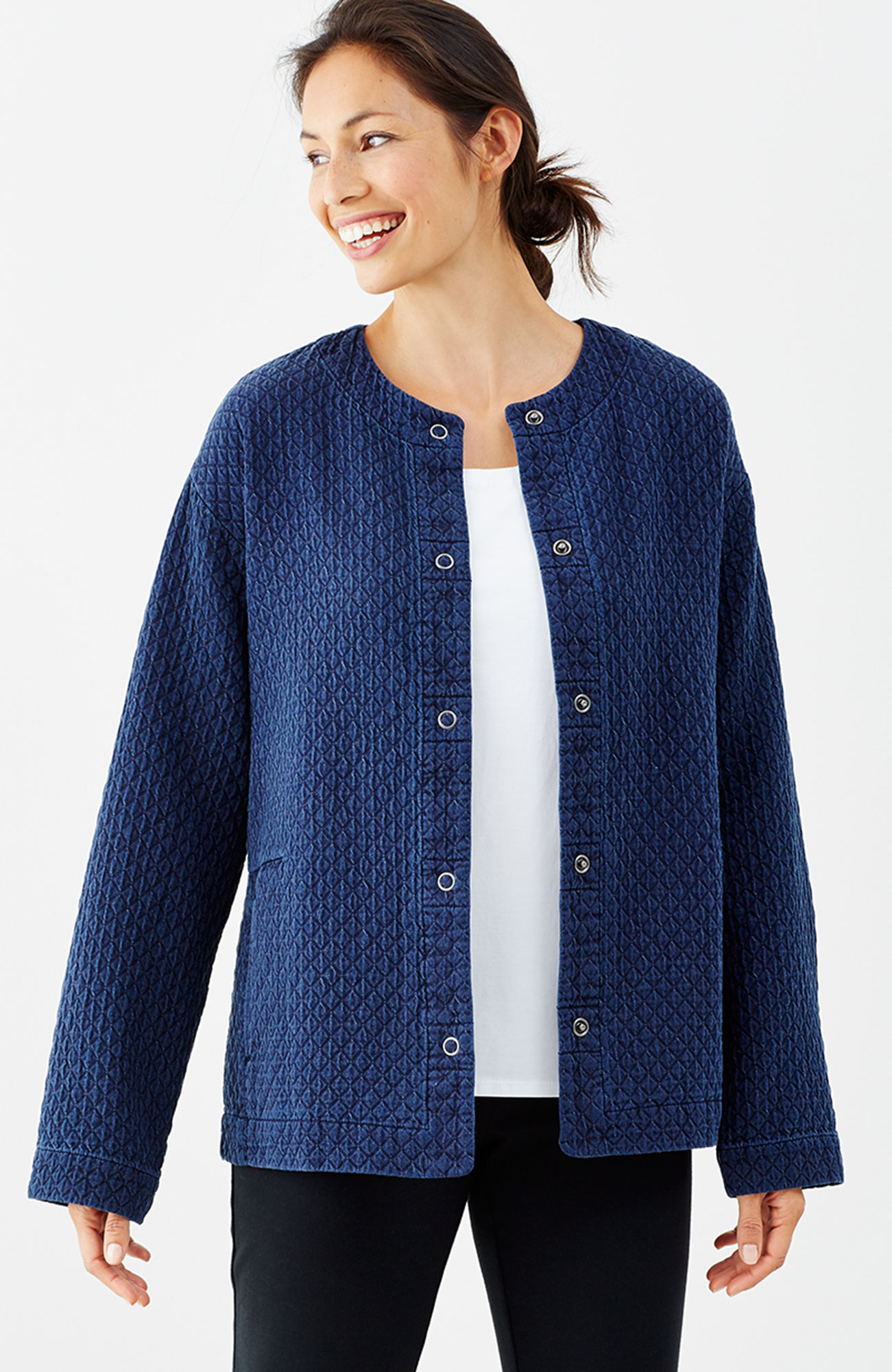 Pure Jill indigo quilted jacket