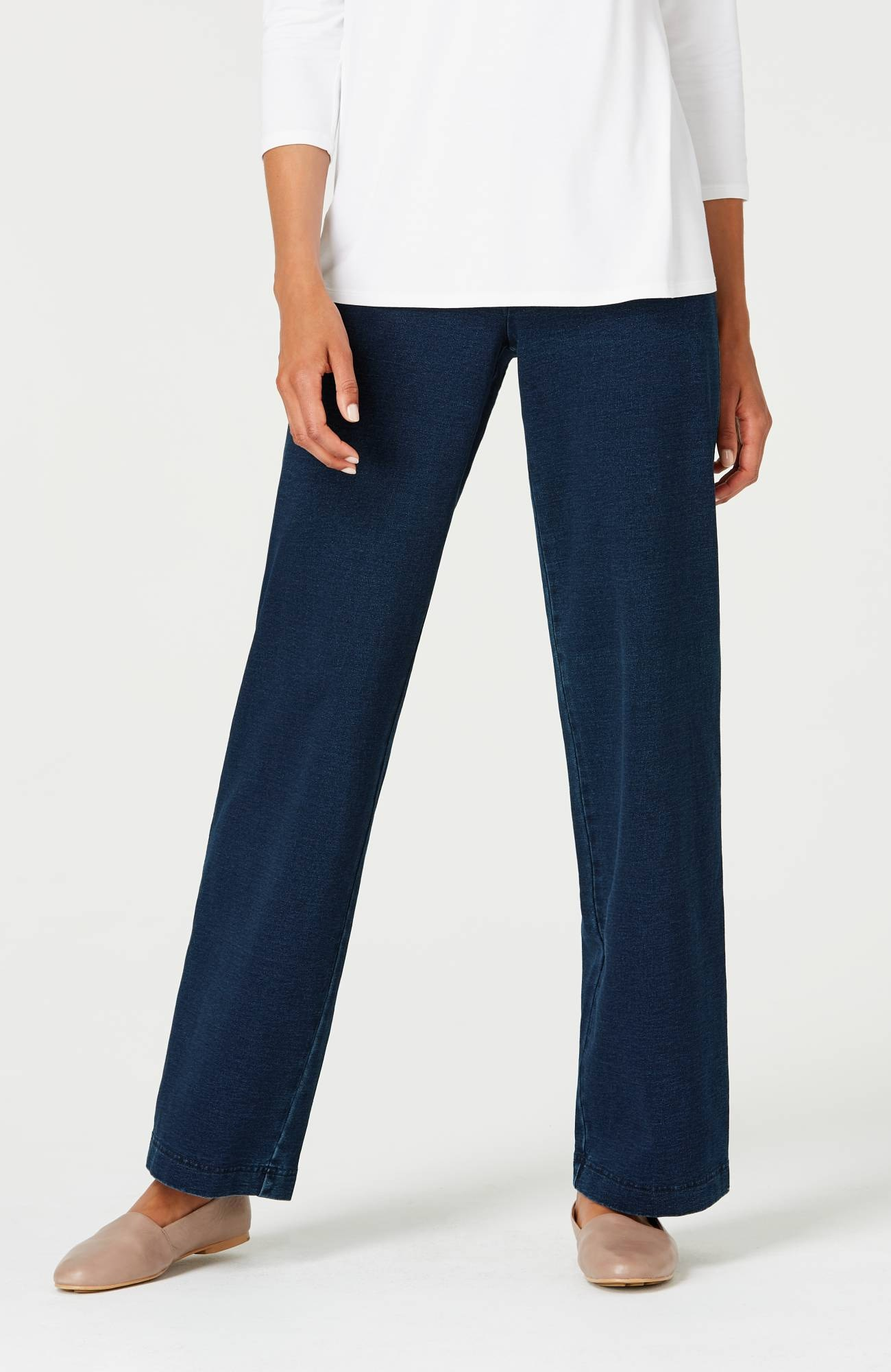 Pure Jill indigo wide-leg knit pants