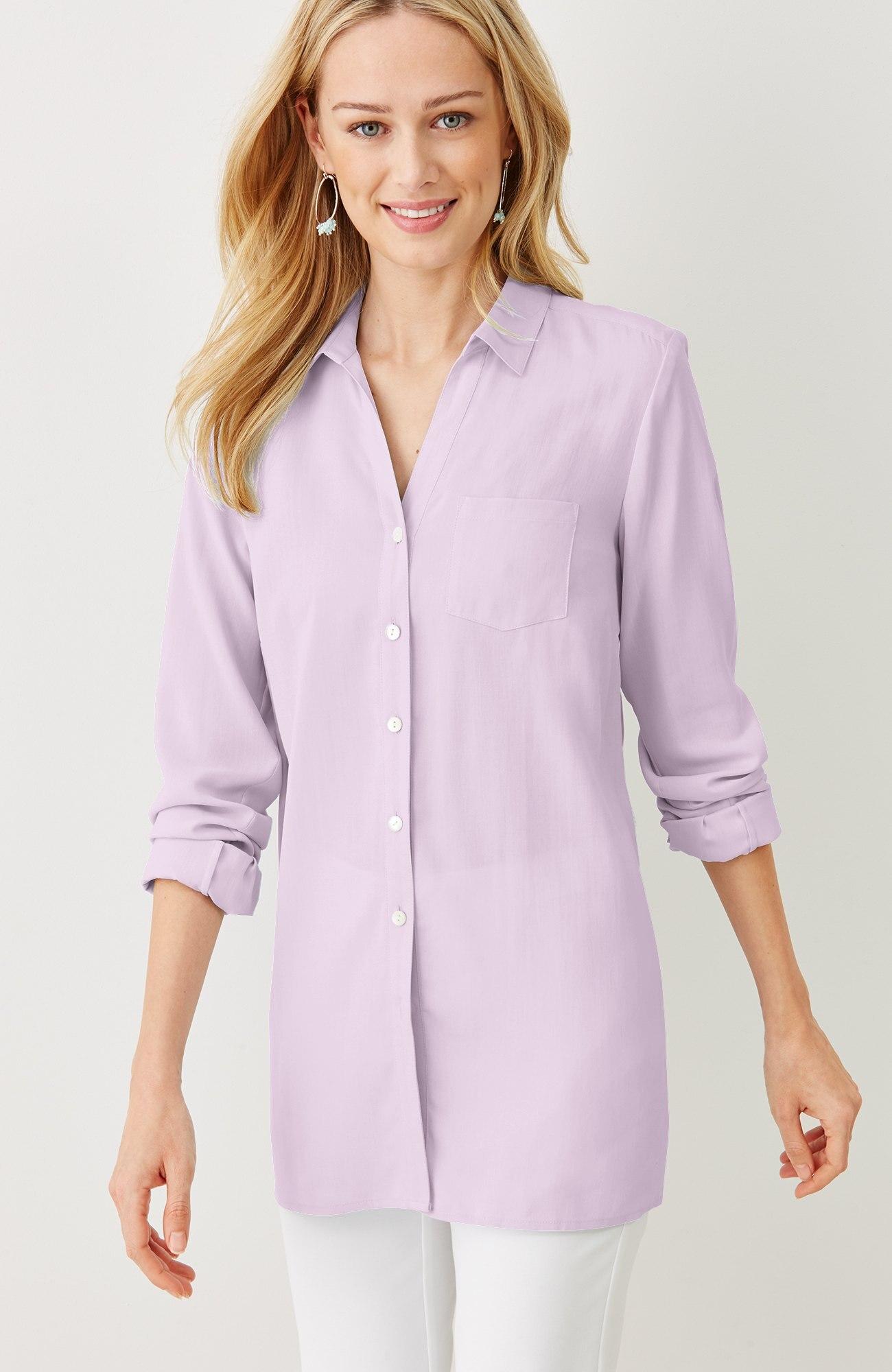 silk A-line shirt