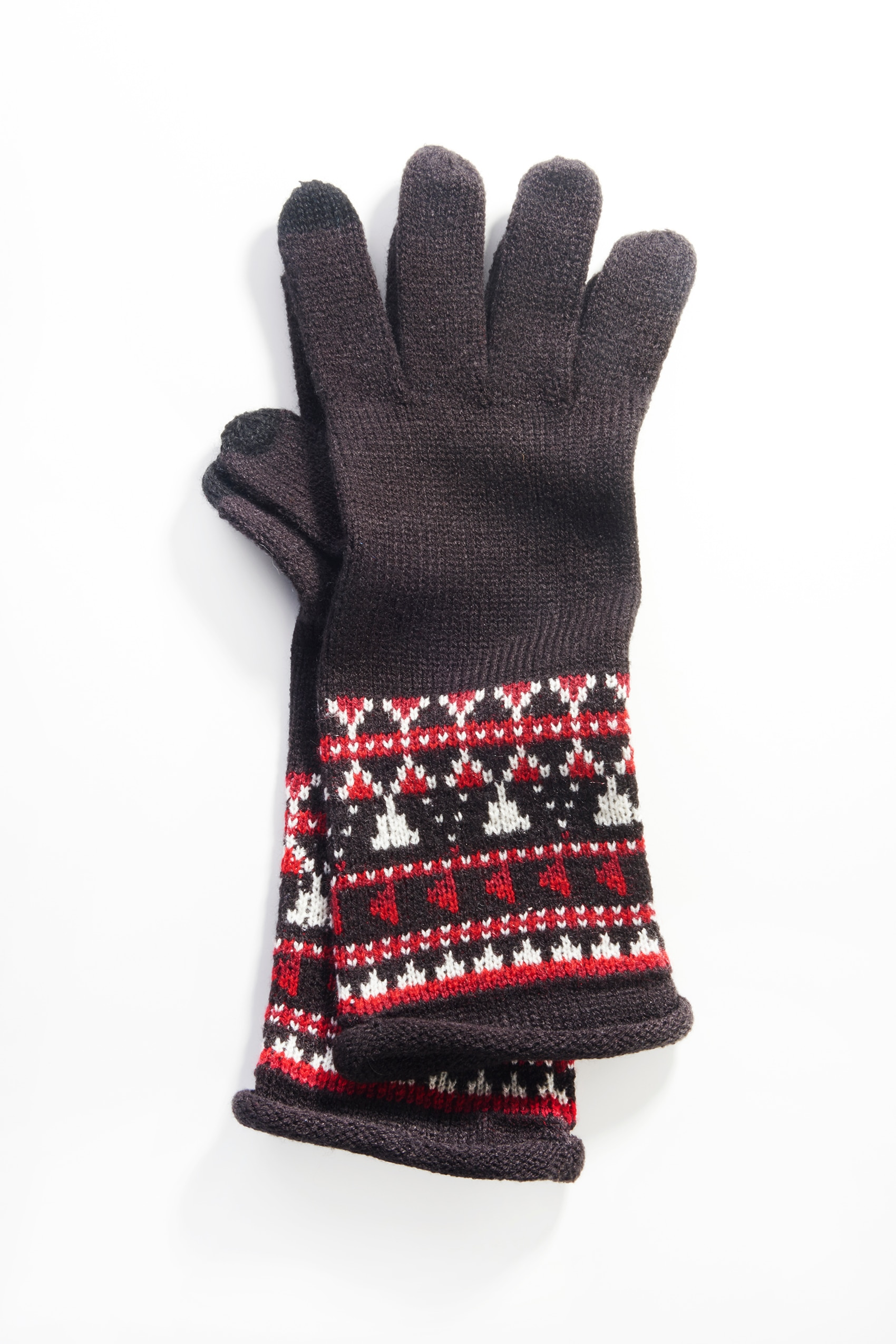 yarn-dyed Fair Isle smart gloves