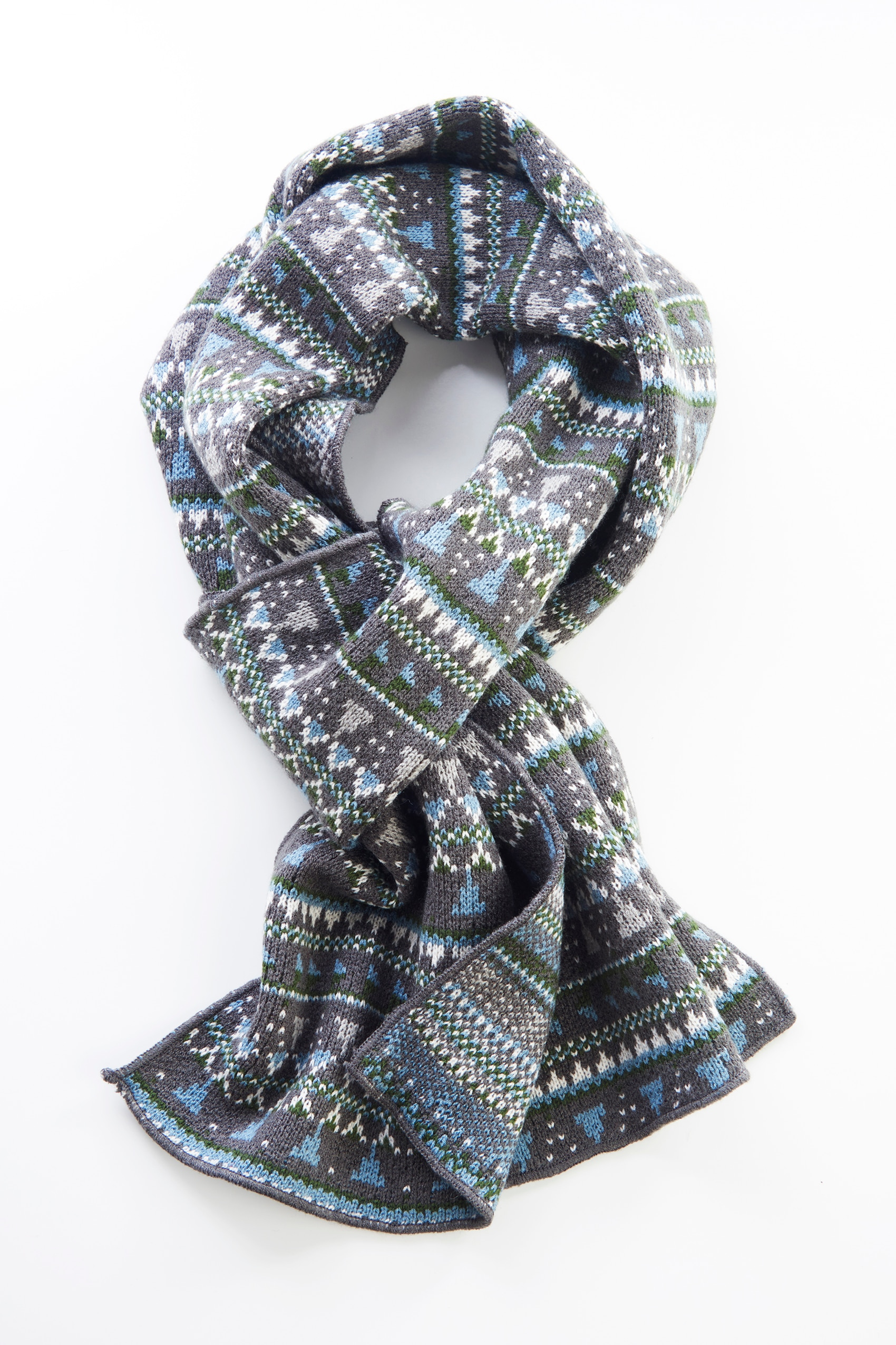yarn-dyed Fair Isle scarf