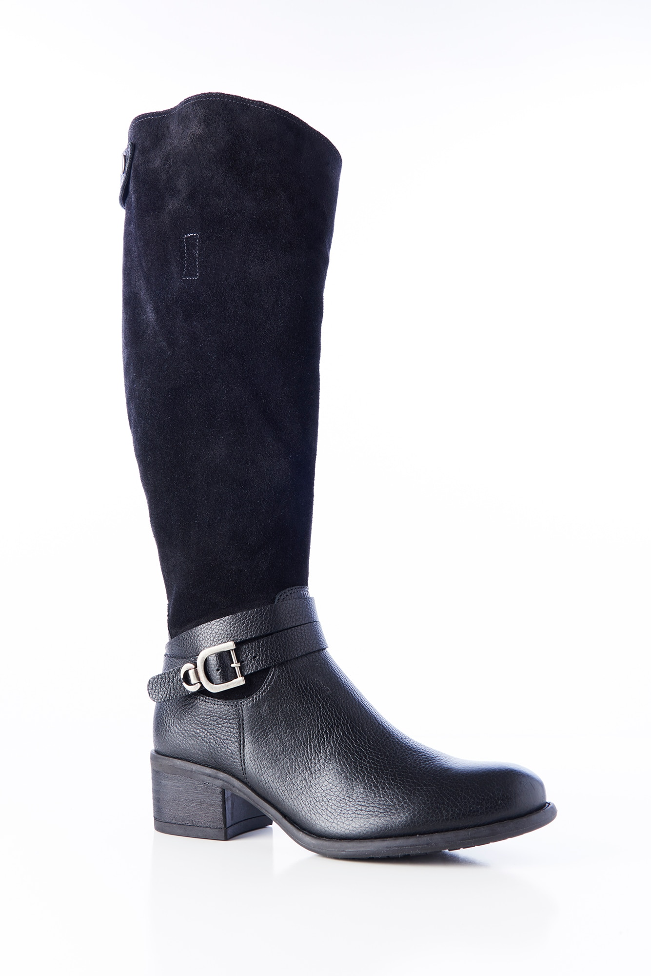 suede & leather riding boots in a wider width calf