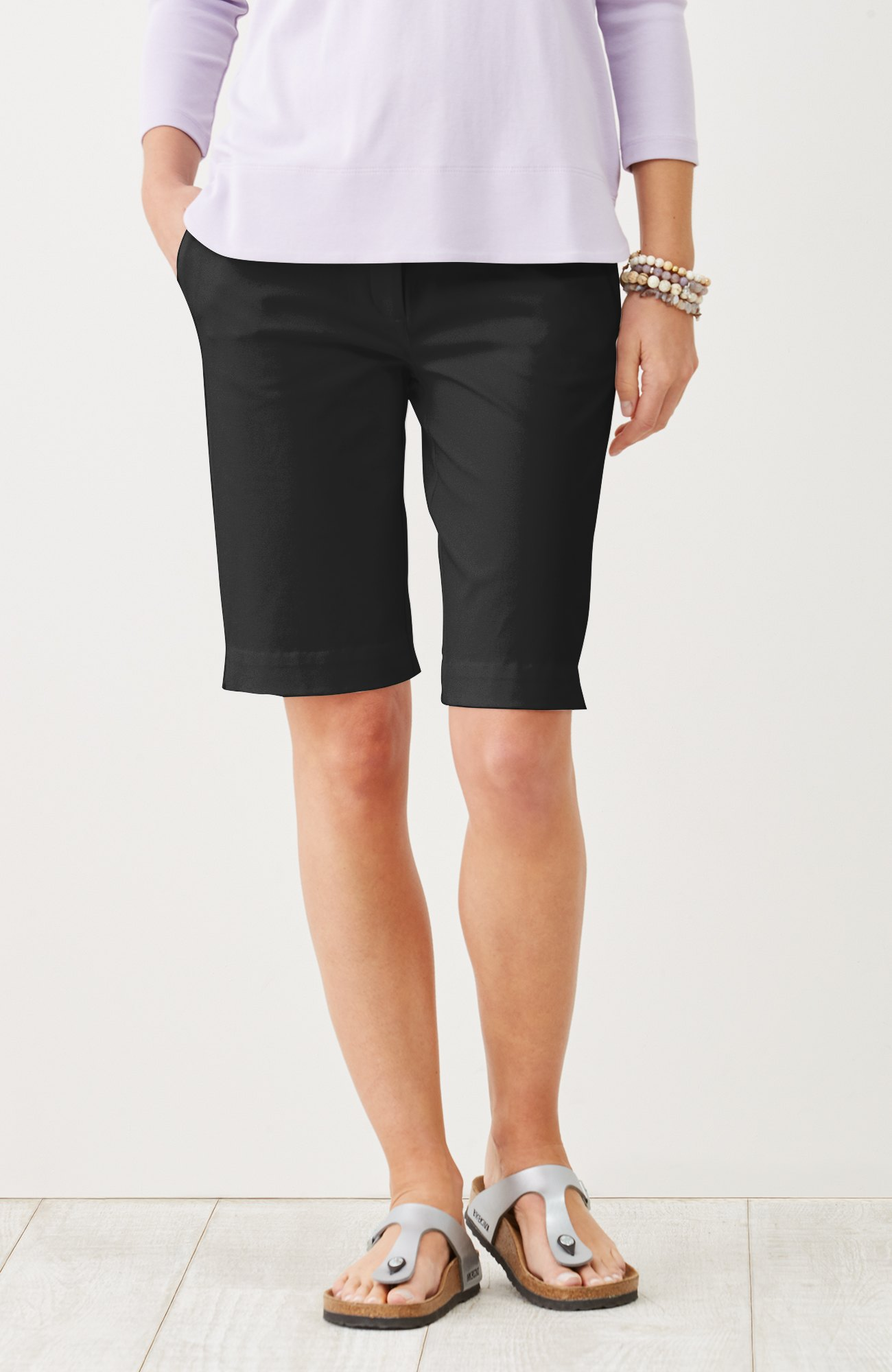 cotton-stretch walking shorts