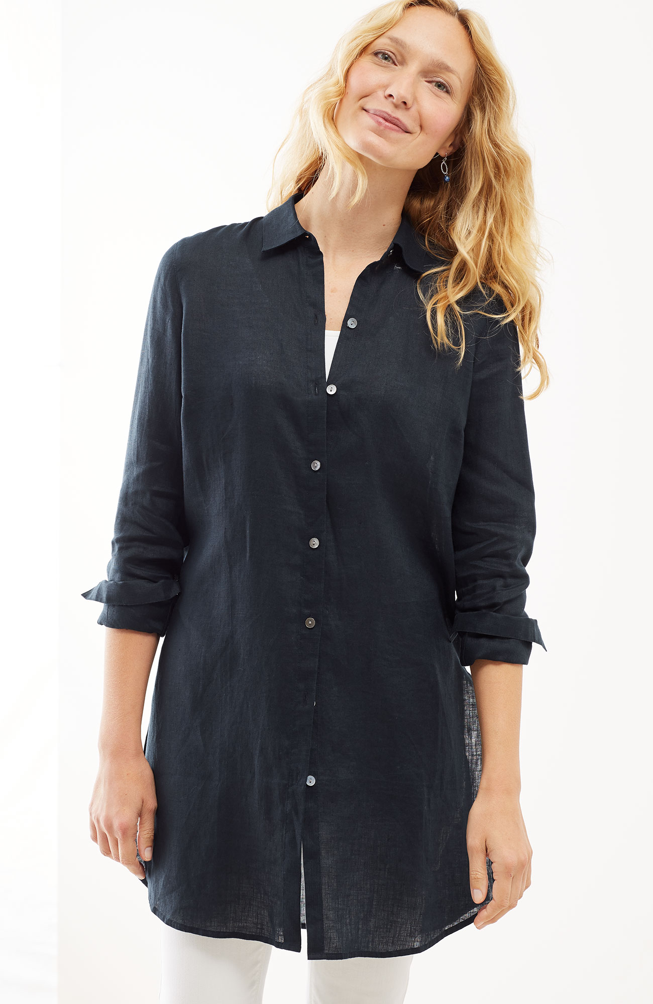 linen button-front tunic
