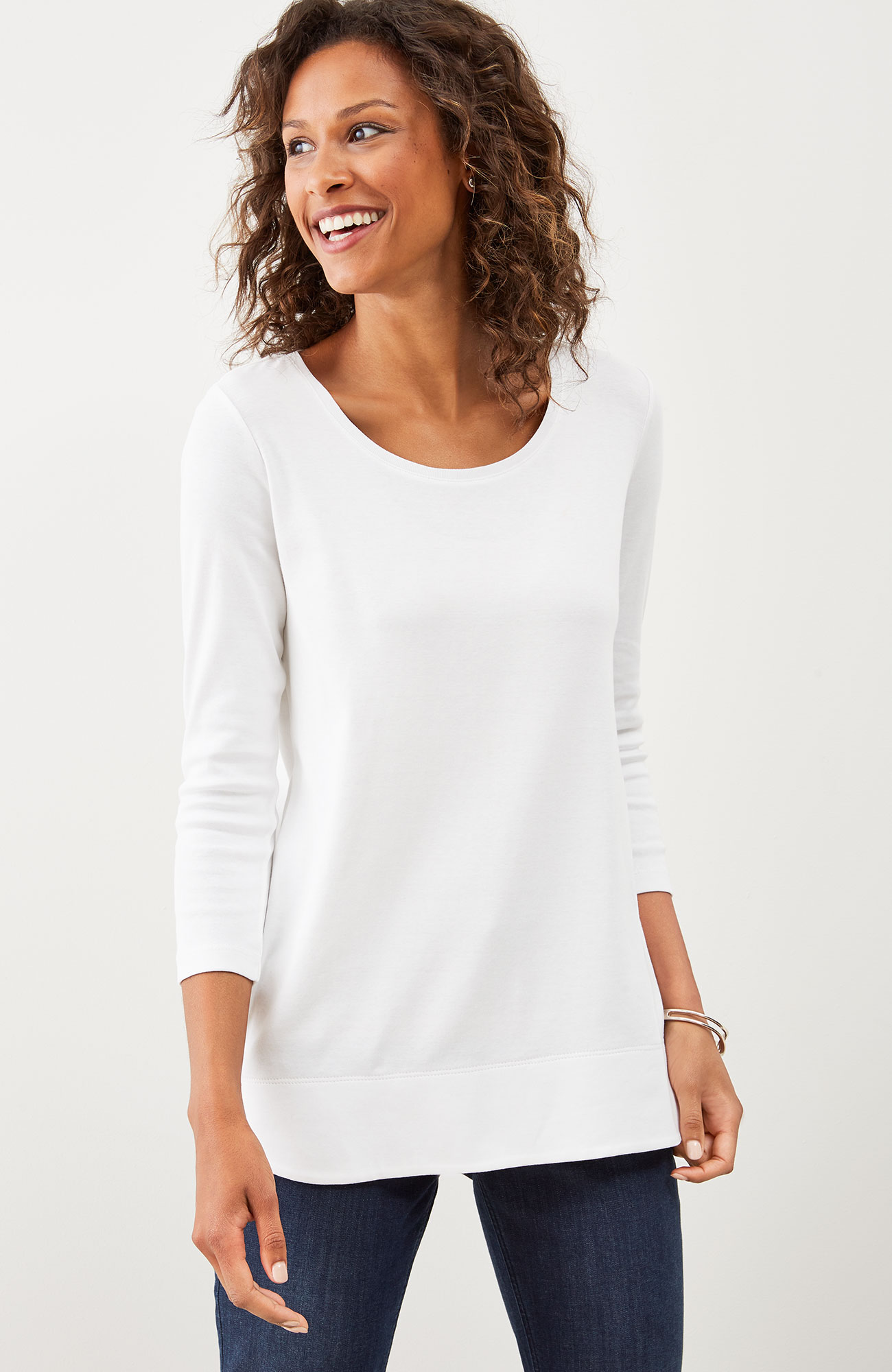 perfect pima 3/4-sleeve scoop-neck tee