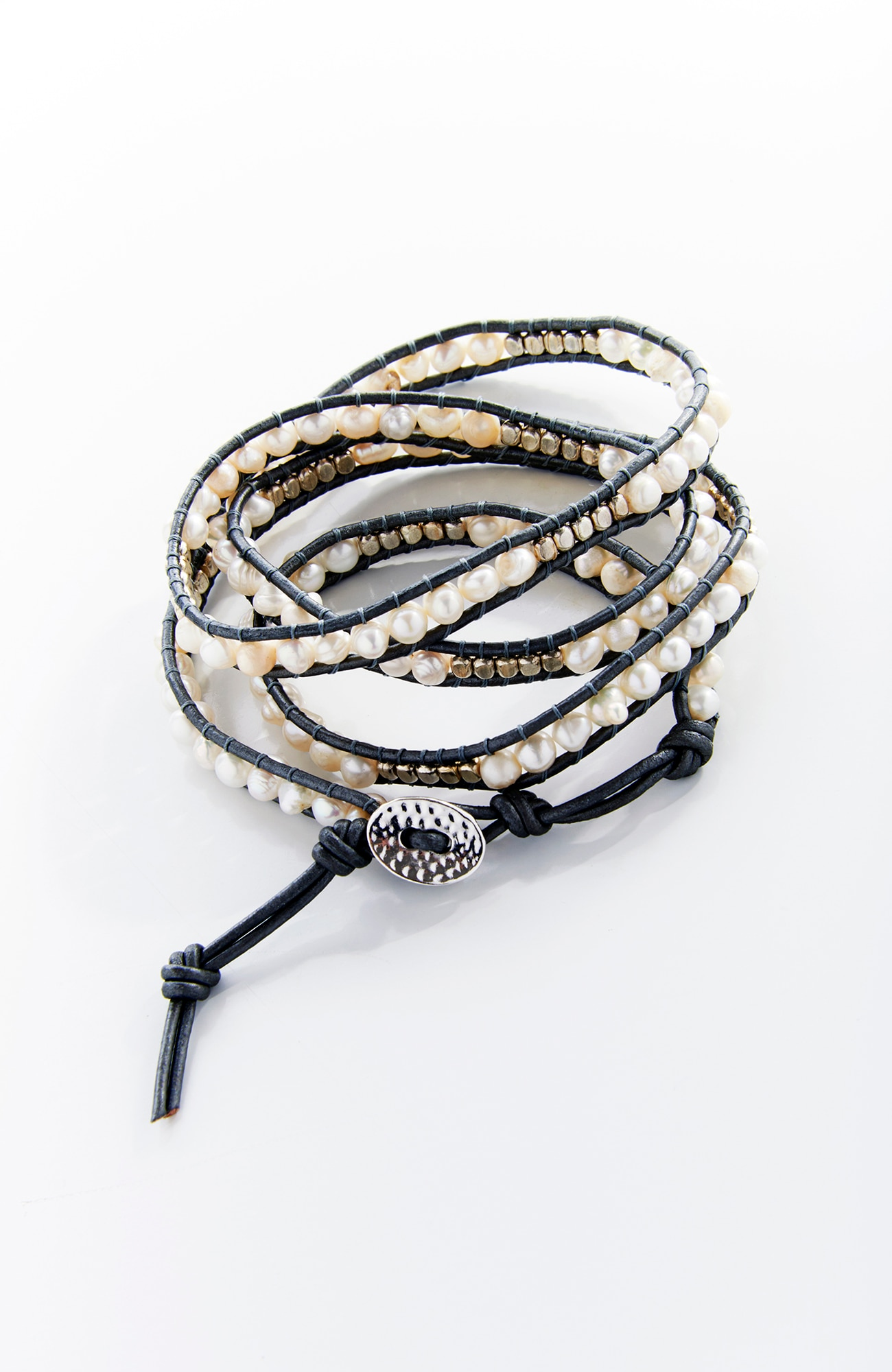 shimmering pearls wrap bracelet