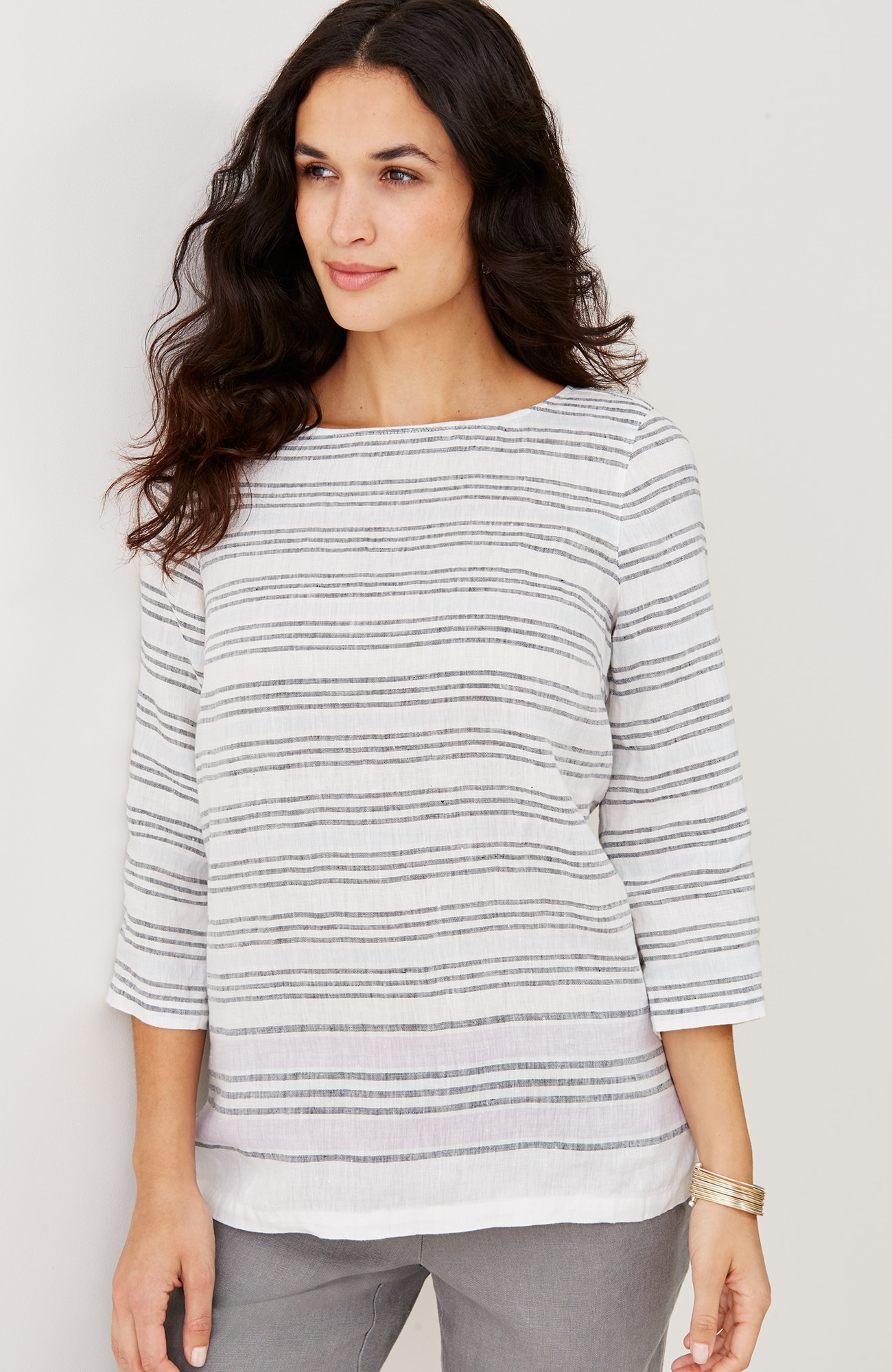 linen buttoned-back striped top