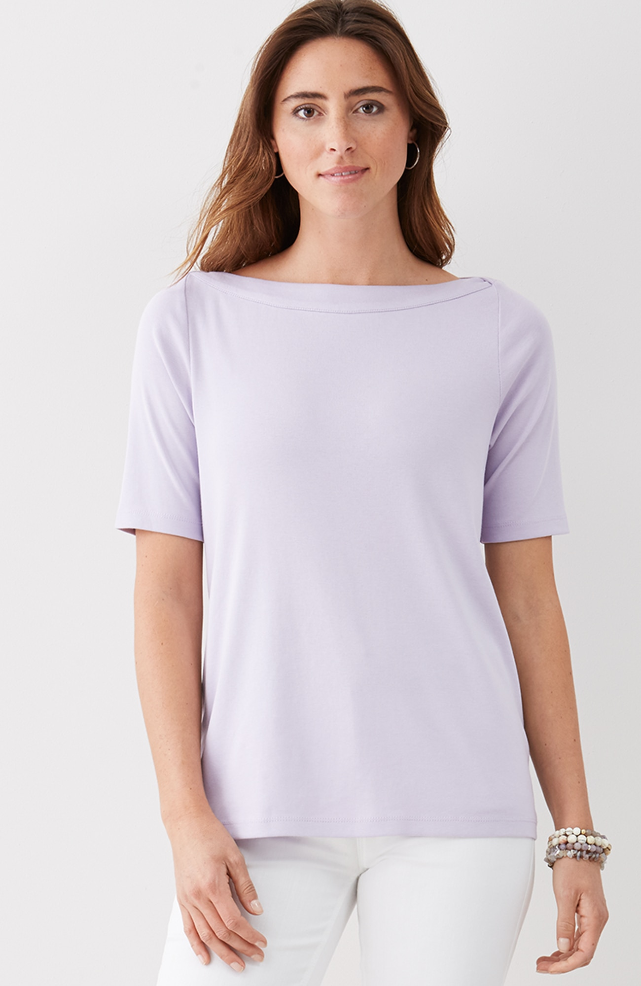 perfect pima elbow-sleeve boat-neck tee