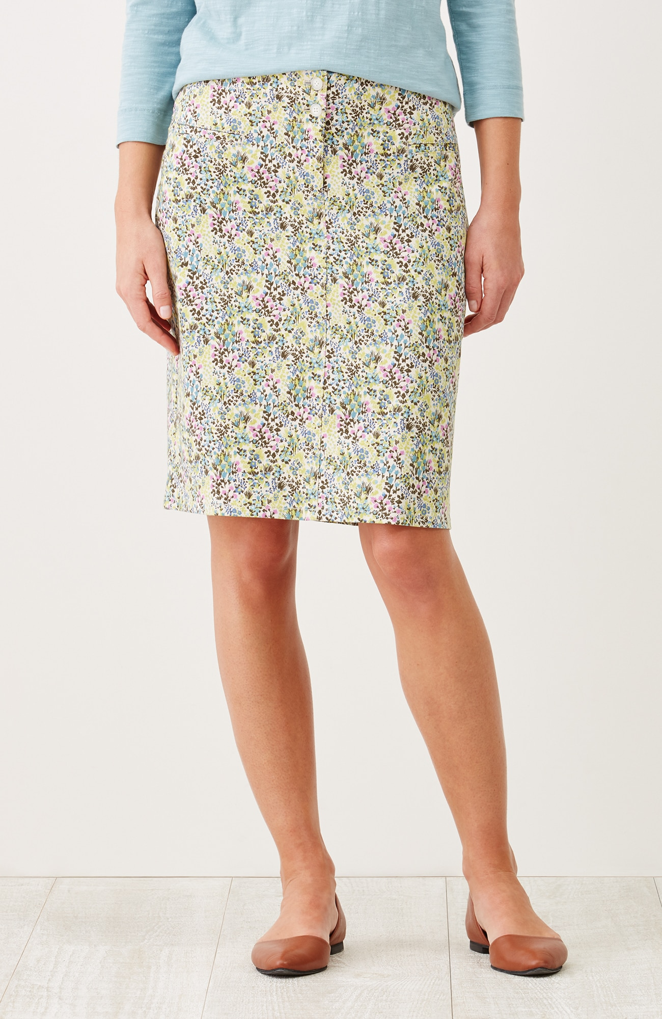 live-in chino print skirt