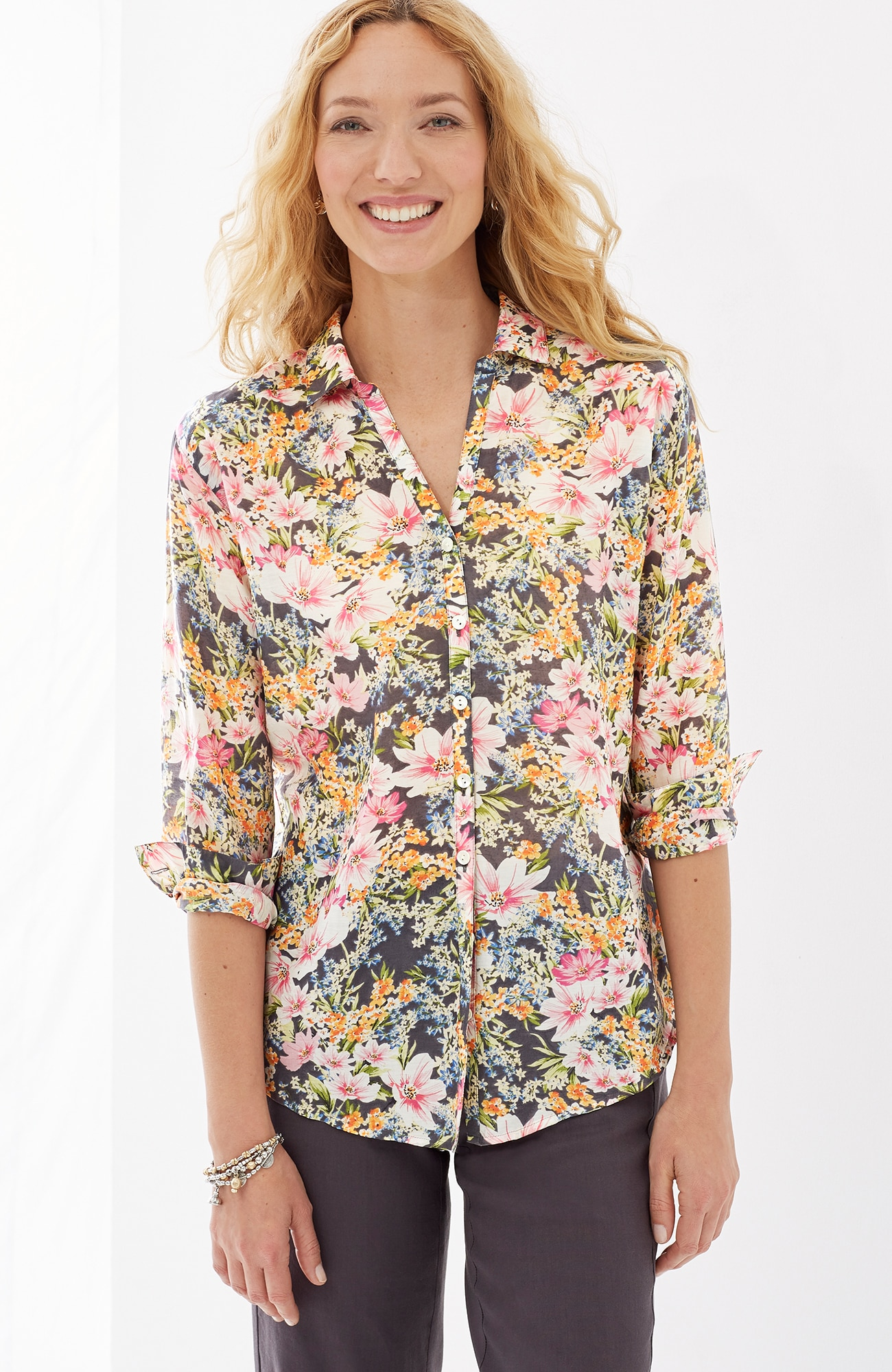 cotton & silk floral shirt