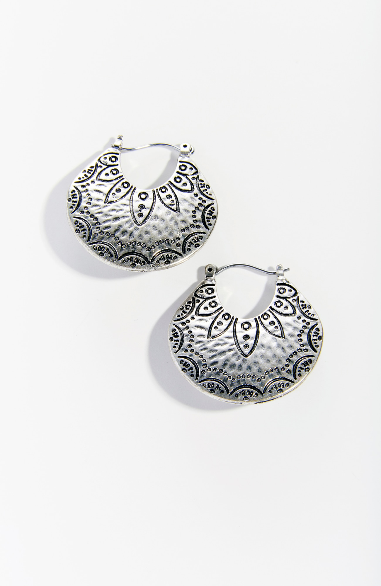 stamped-motif earrings