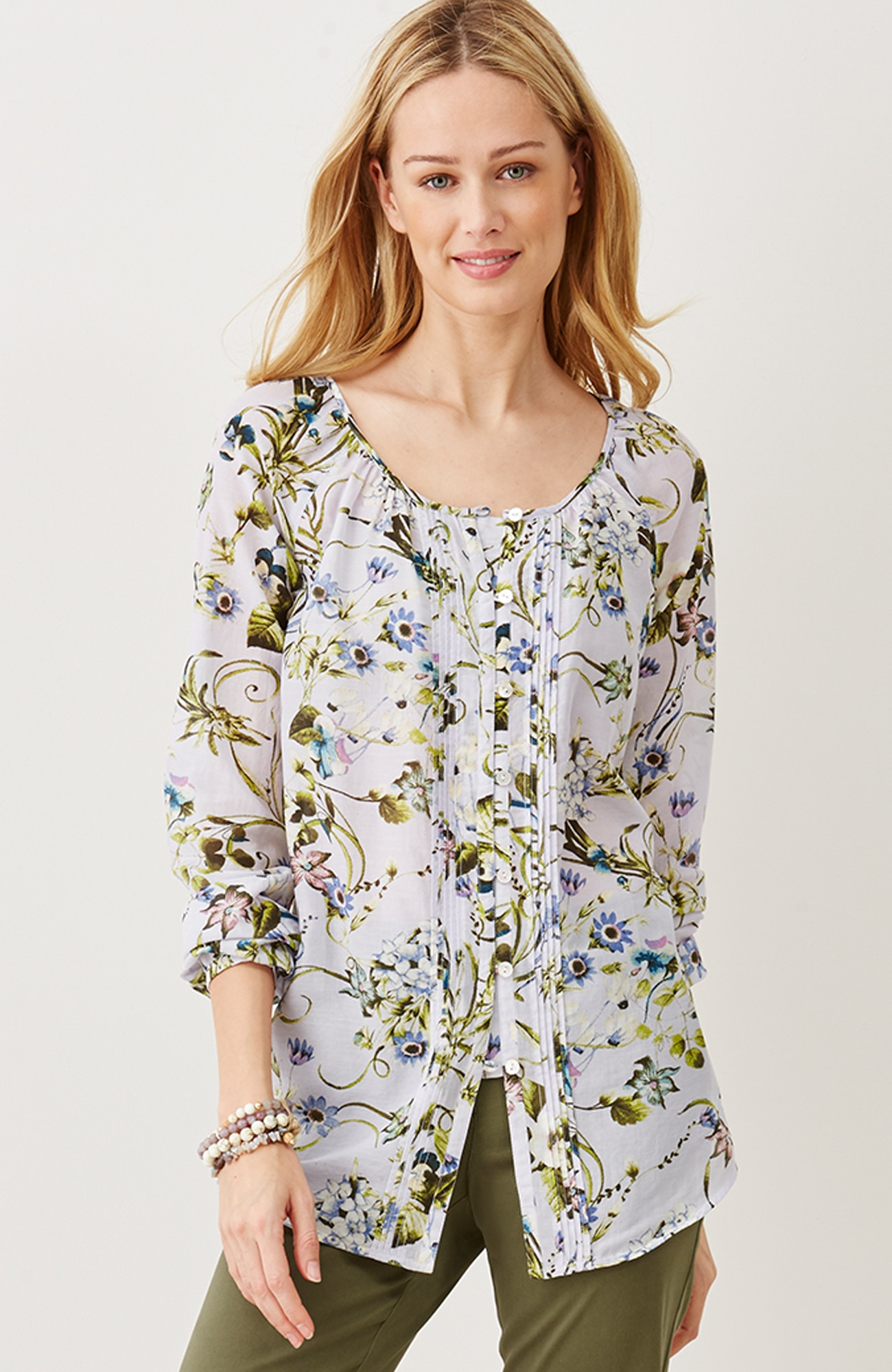 pintucked cotton & silk floral top