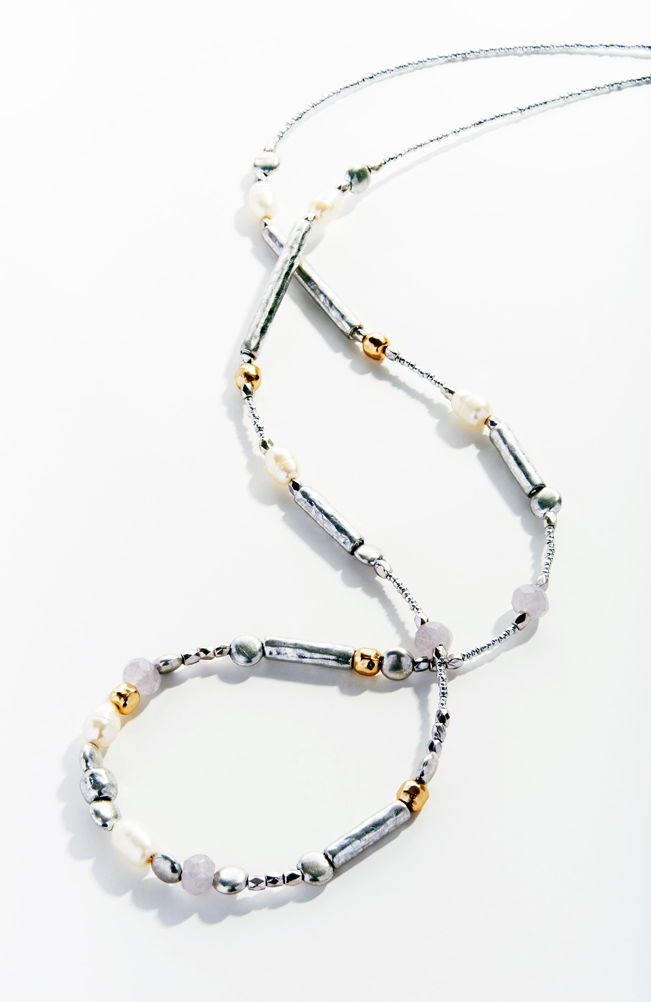 mixed-beads & agate necklace