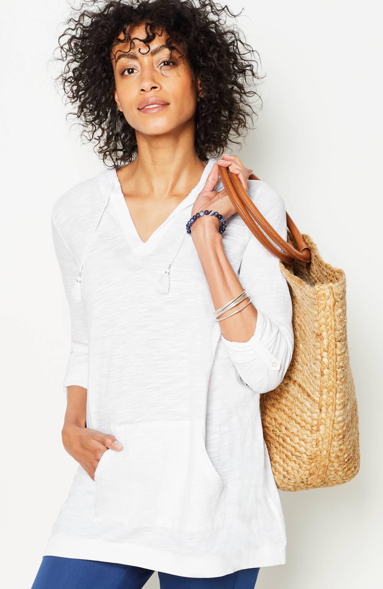 tab-sleeve knit hoodie