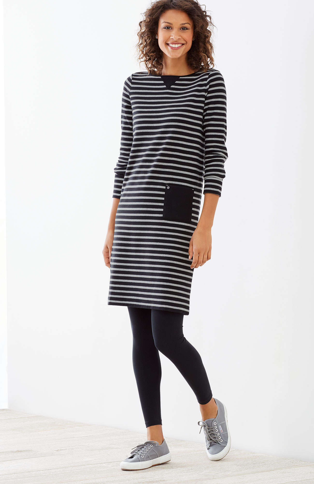 striped knit boat-neck dress