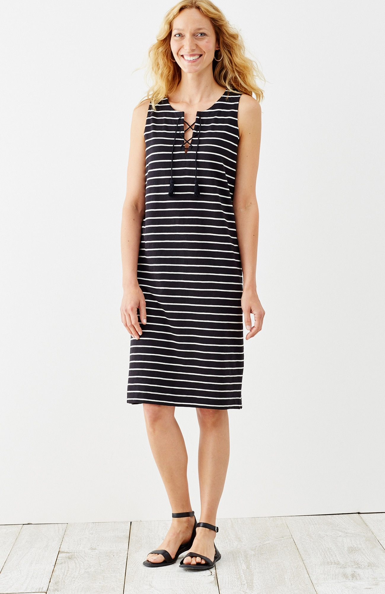 striped knit lace-up dress