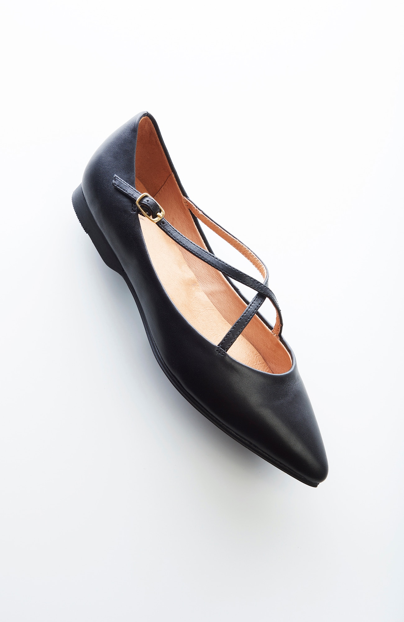 cross-strap leather flats
