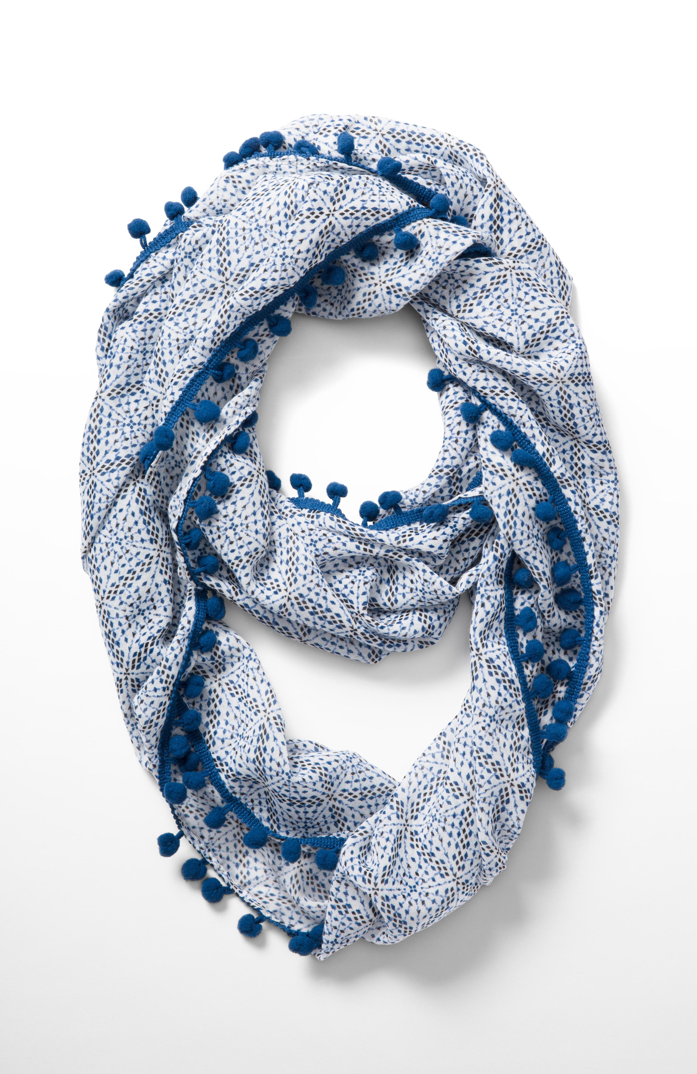 pom-pom fringe infinity scarf