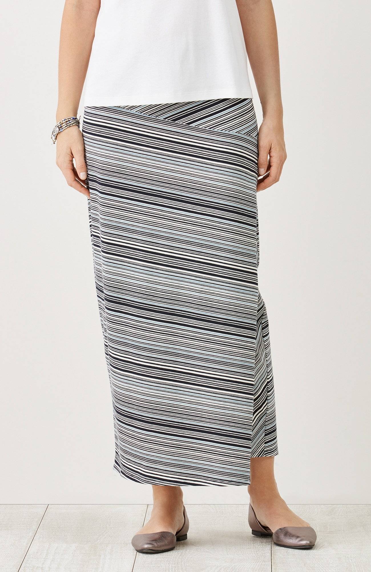 striped knit wrap-style maxi skirt