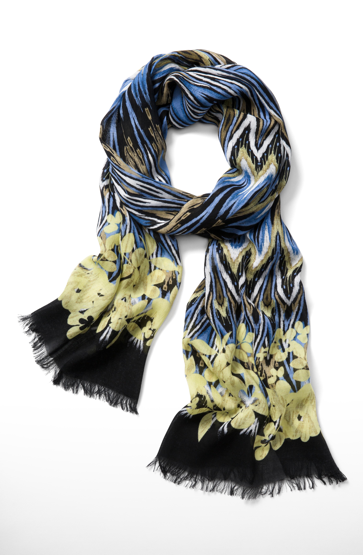 floral-border chevron scarf