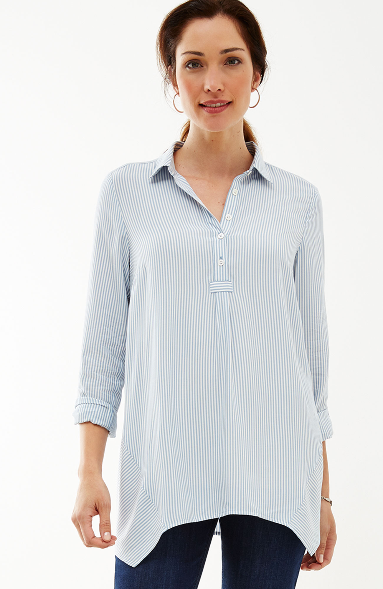 dipped-hem striped top