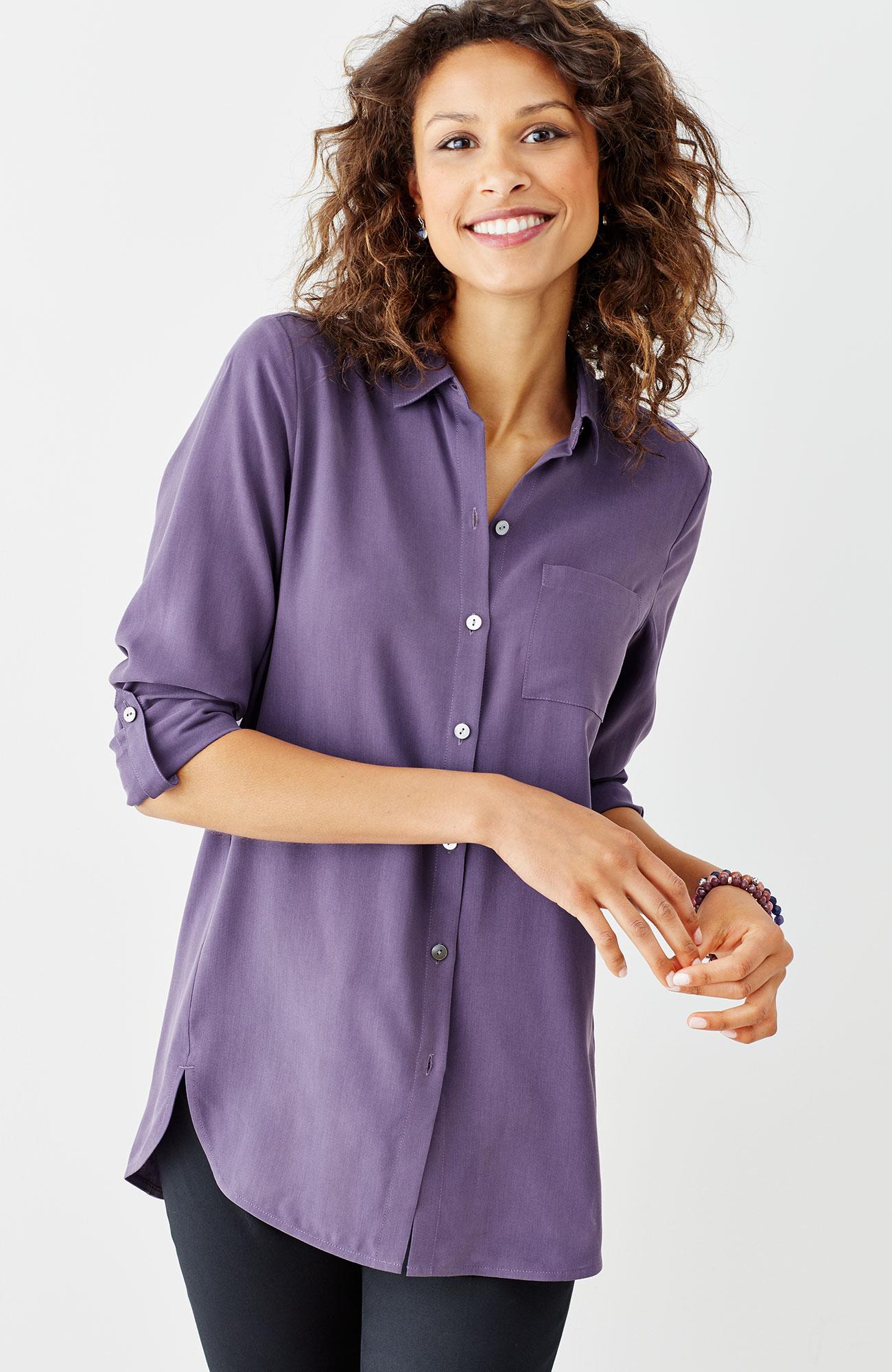 silk forward-seam shirt