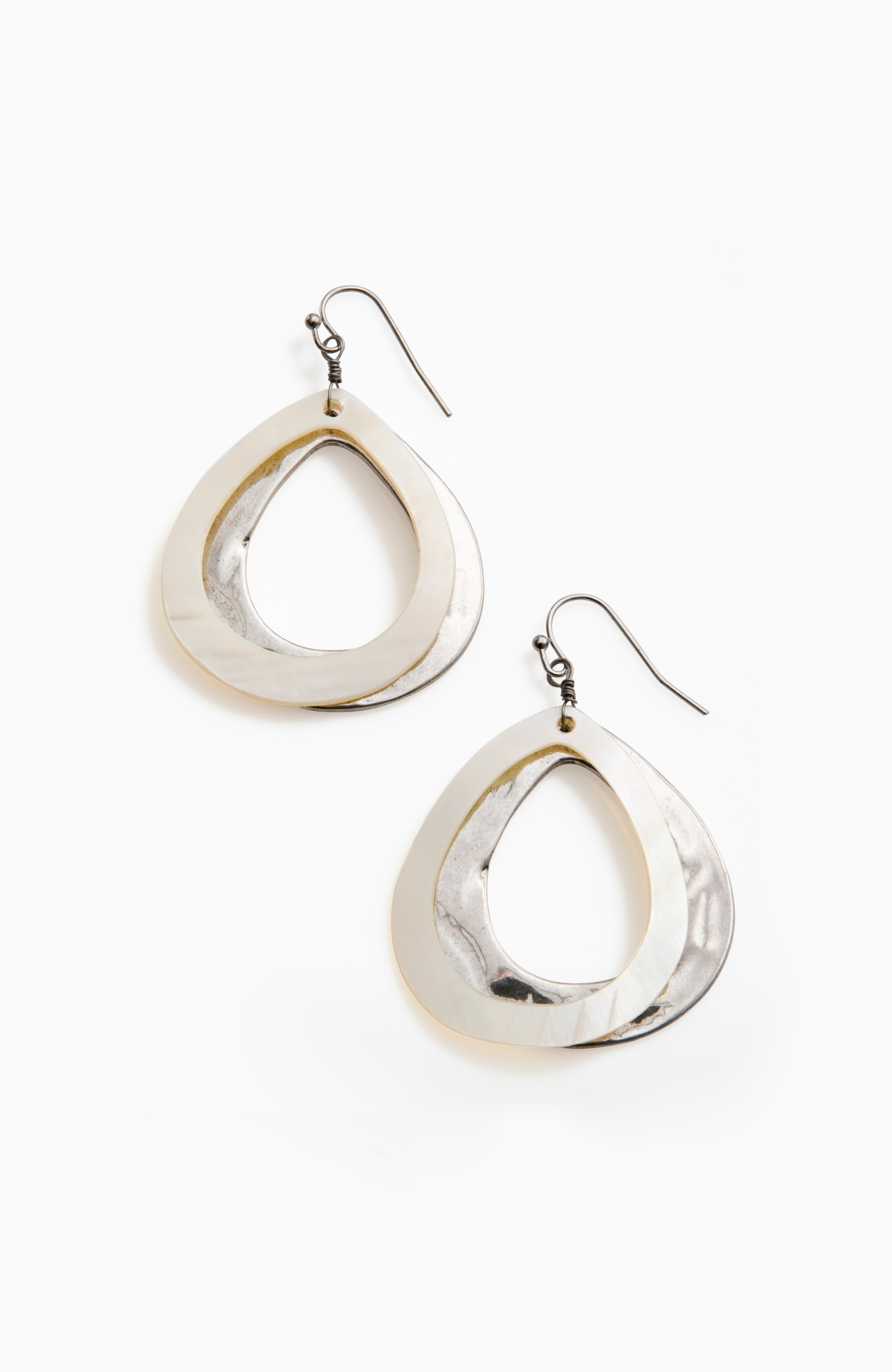 layered-shell drop earrings