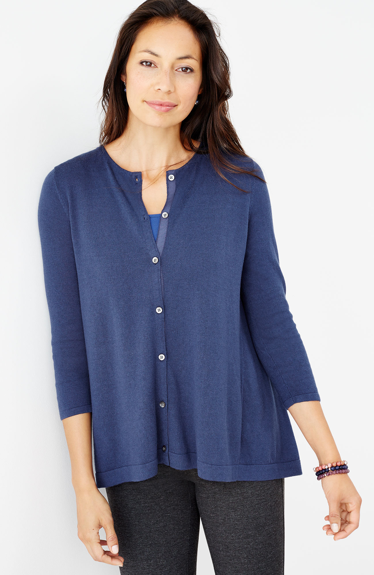 pleated-back cardigan