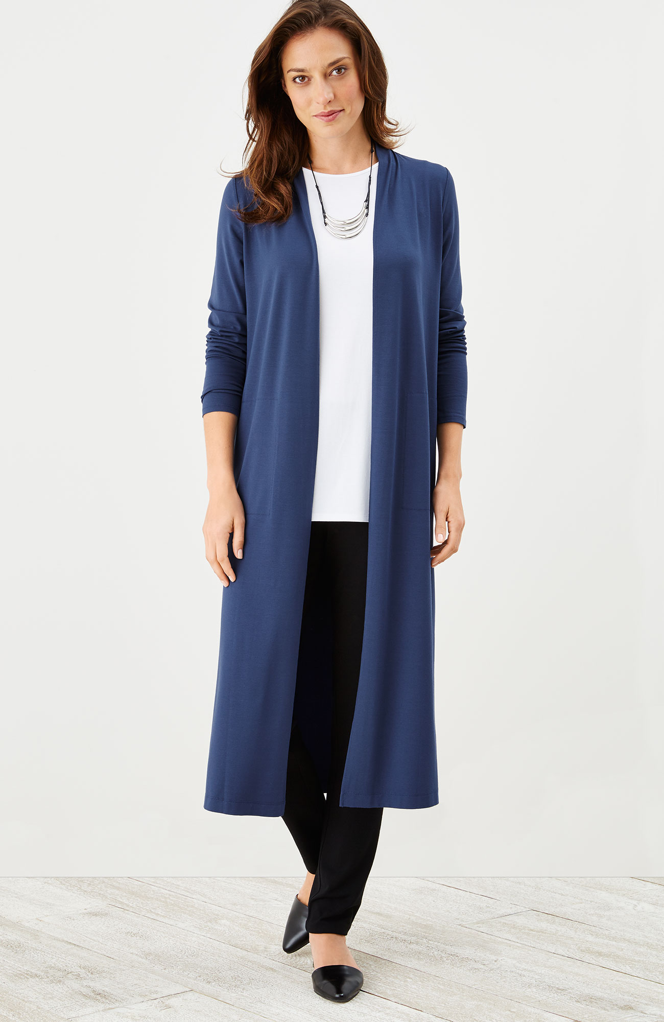 Wearever long open-front jacket