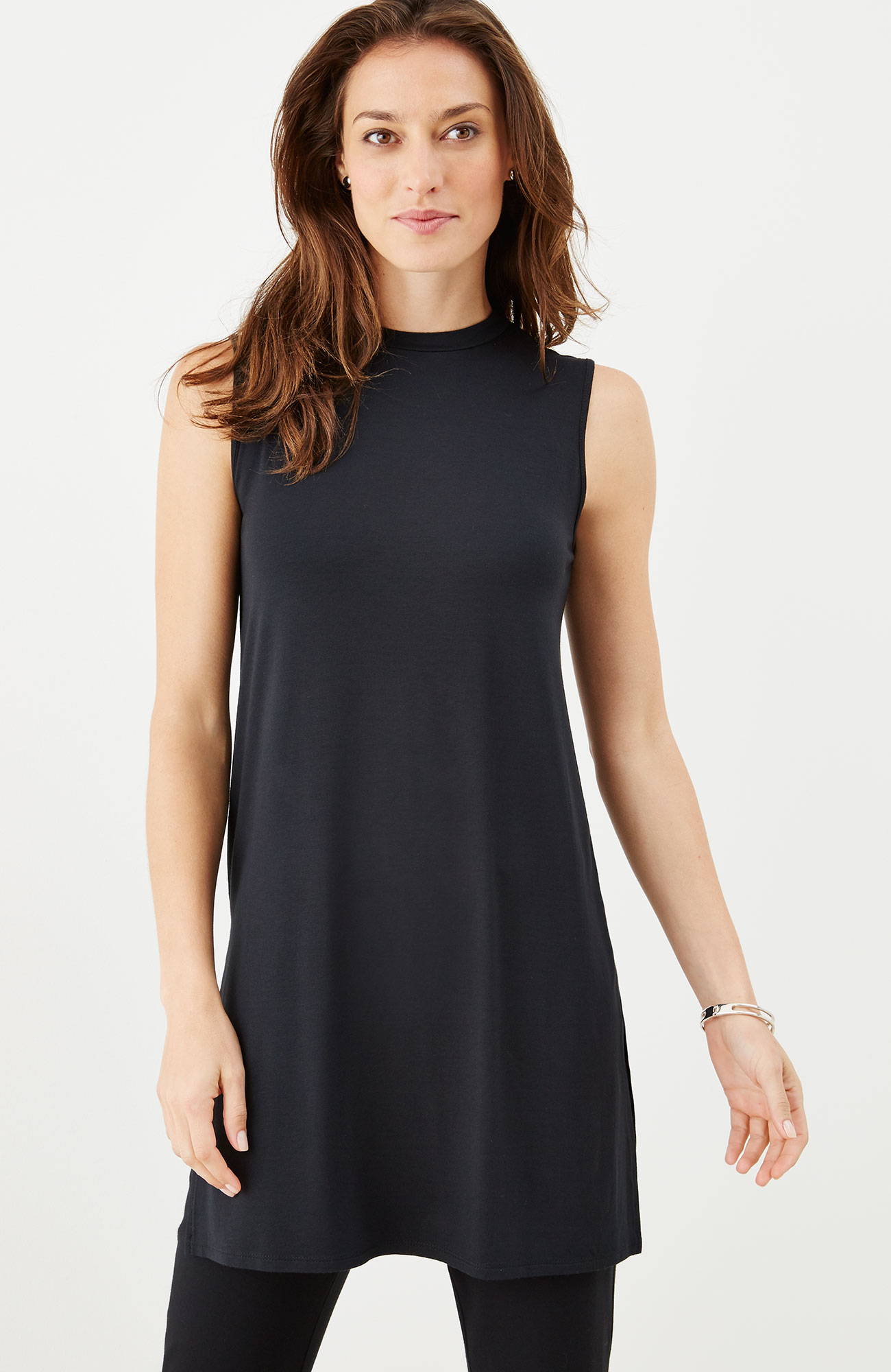 Wearever mock-neck sleeveless tunic