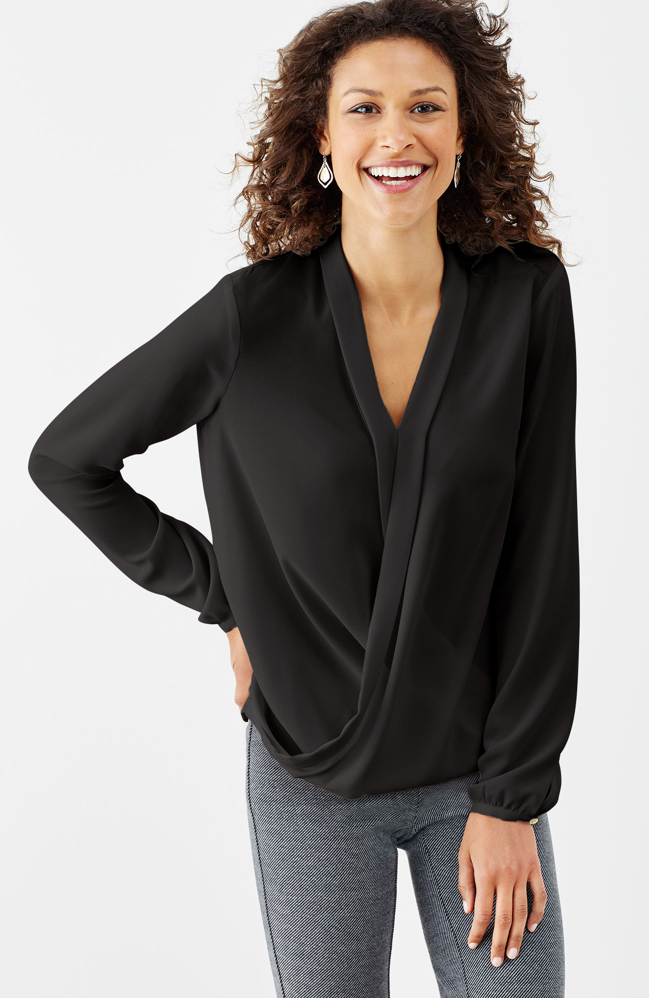 draped-front wrap top