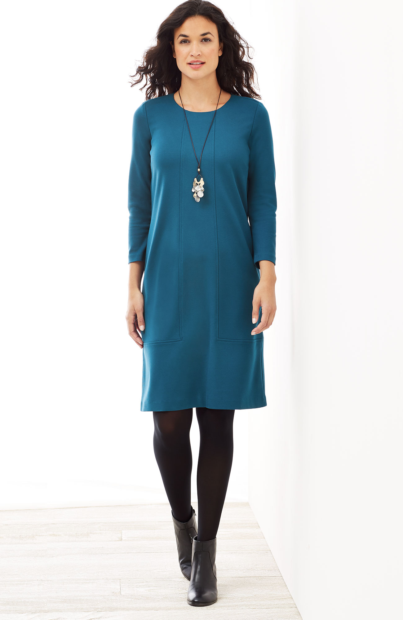 ponte knit seamed dress