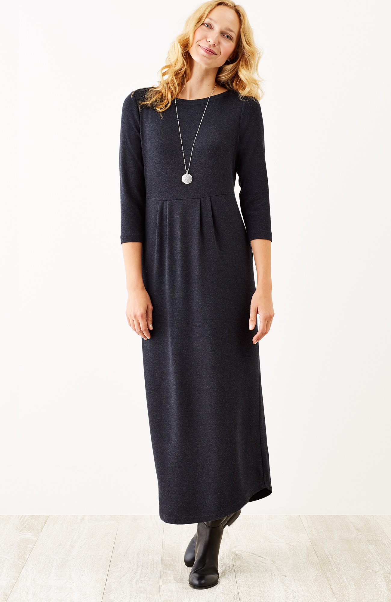 pleated knit maxi dress