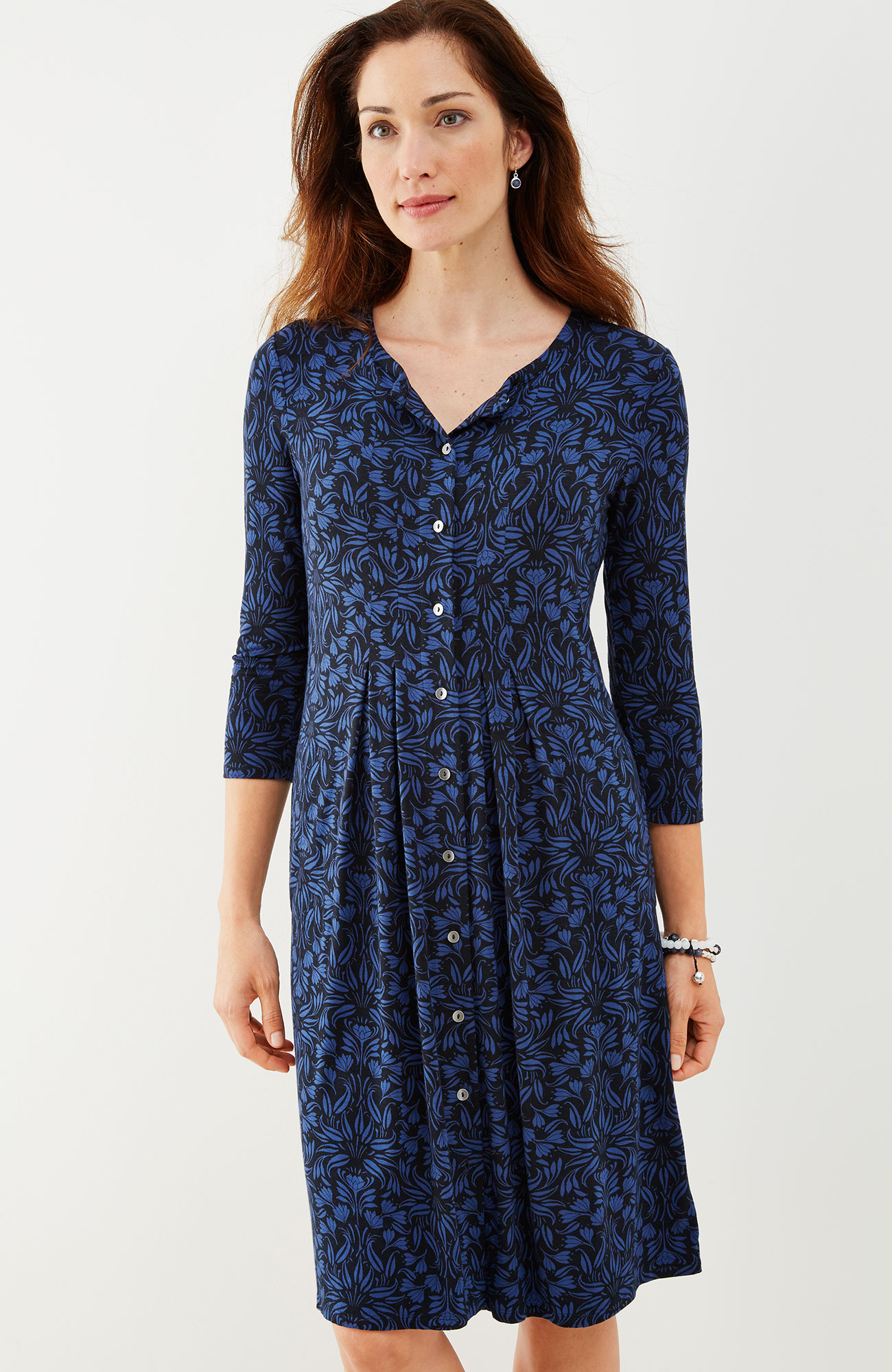 pleated floral knit shirtdress