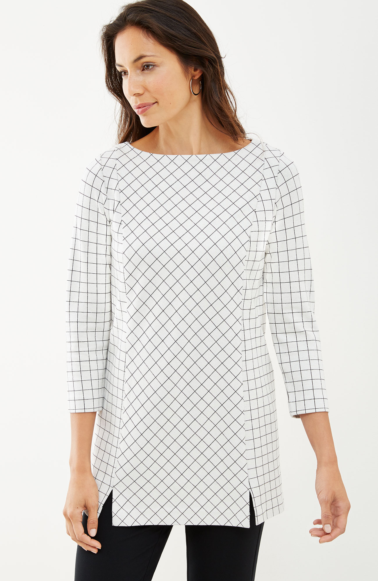 windowpane ponte knit tunic