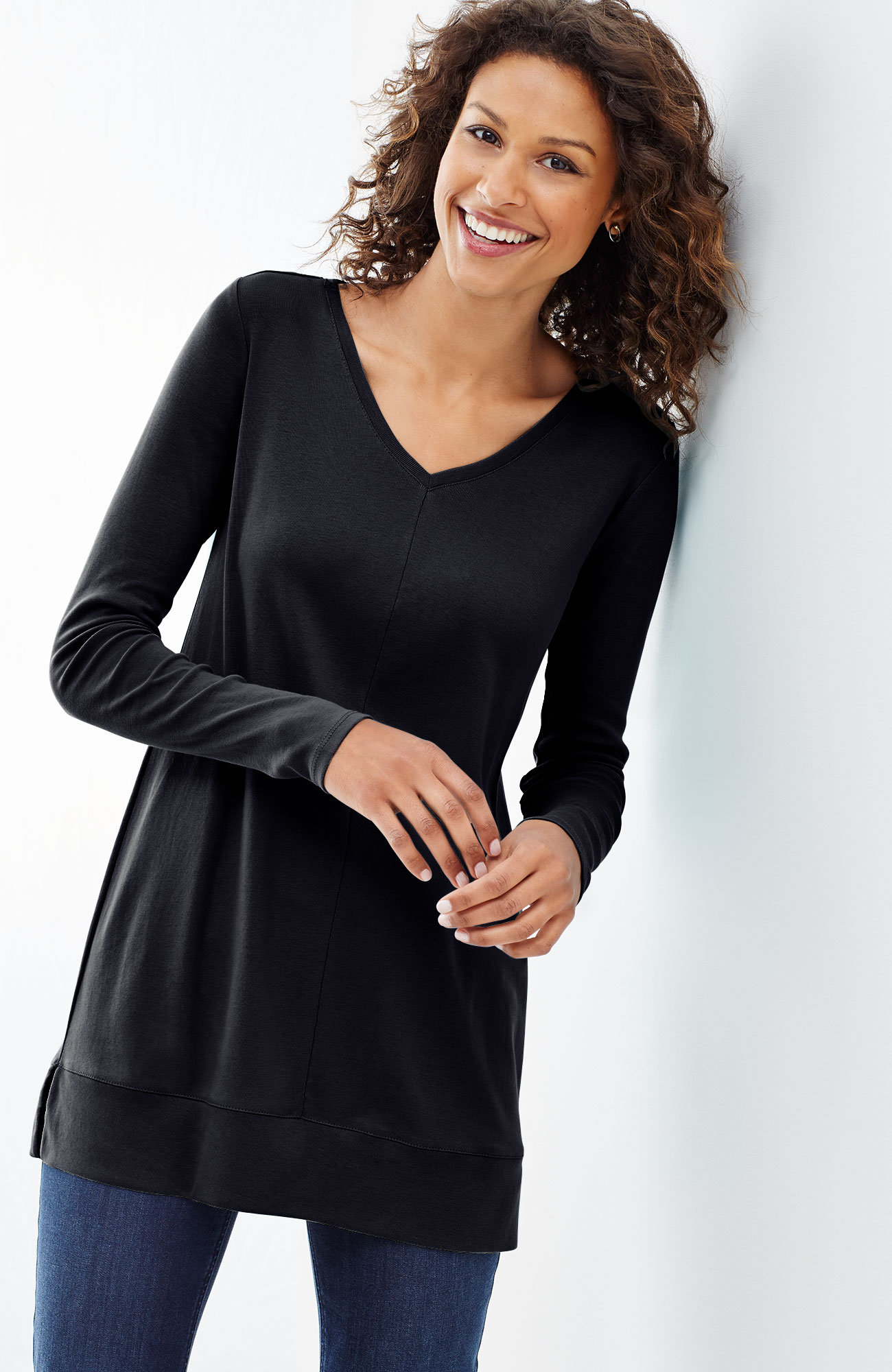 perfect pima V-neck tunic
