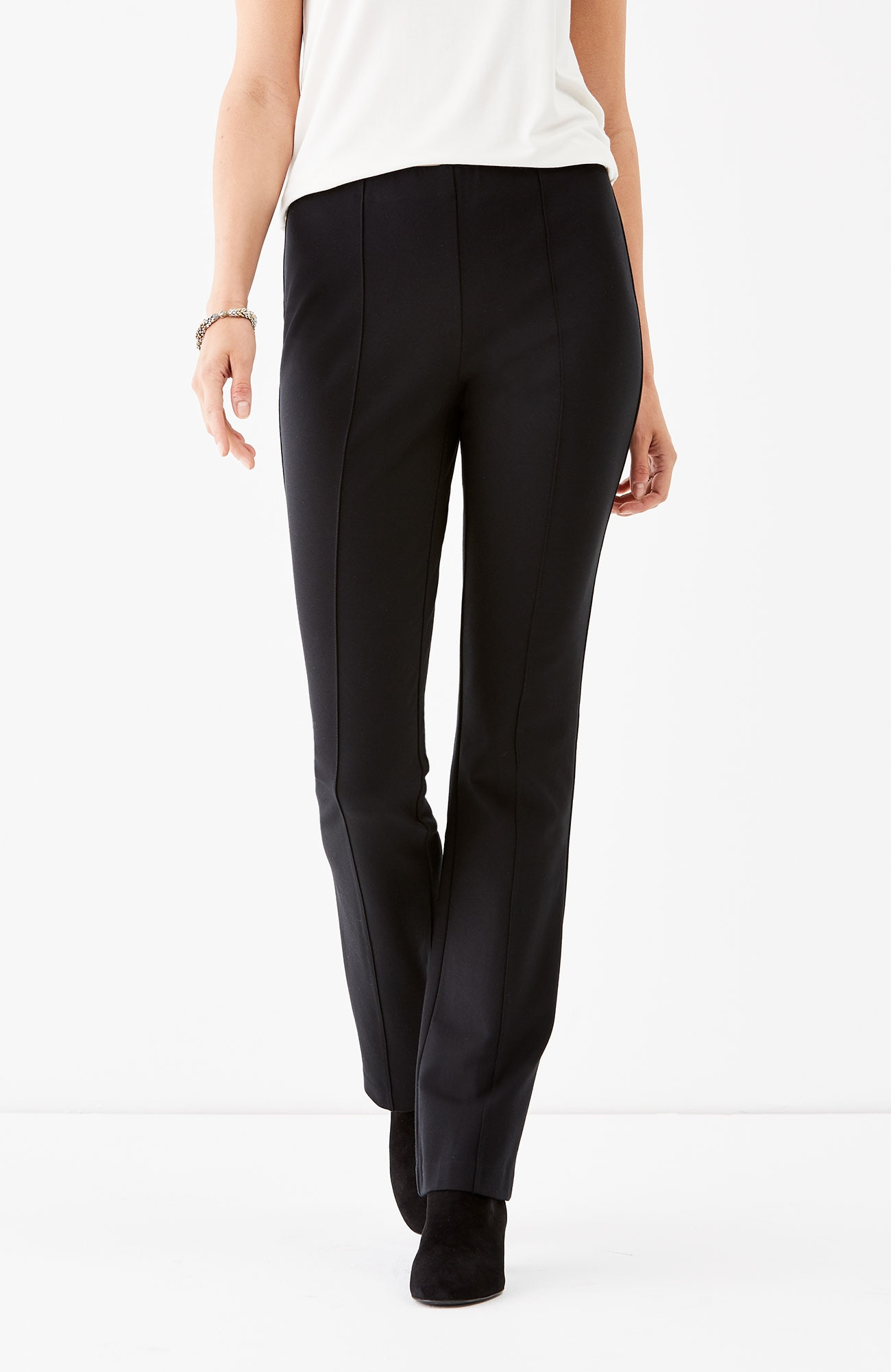 ponte knit barely boot-cut pants