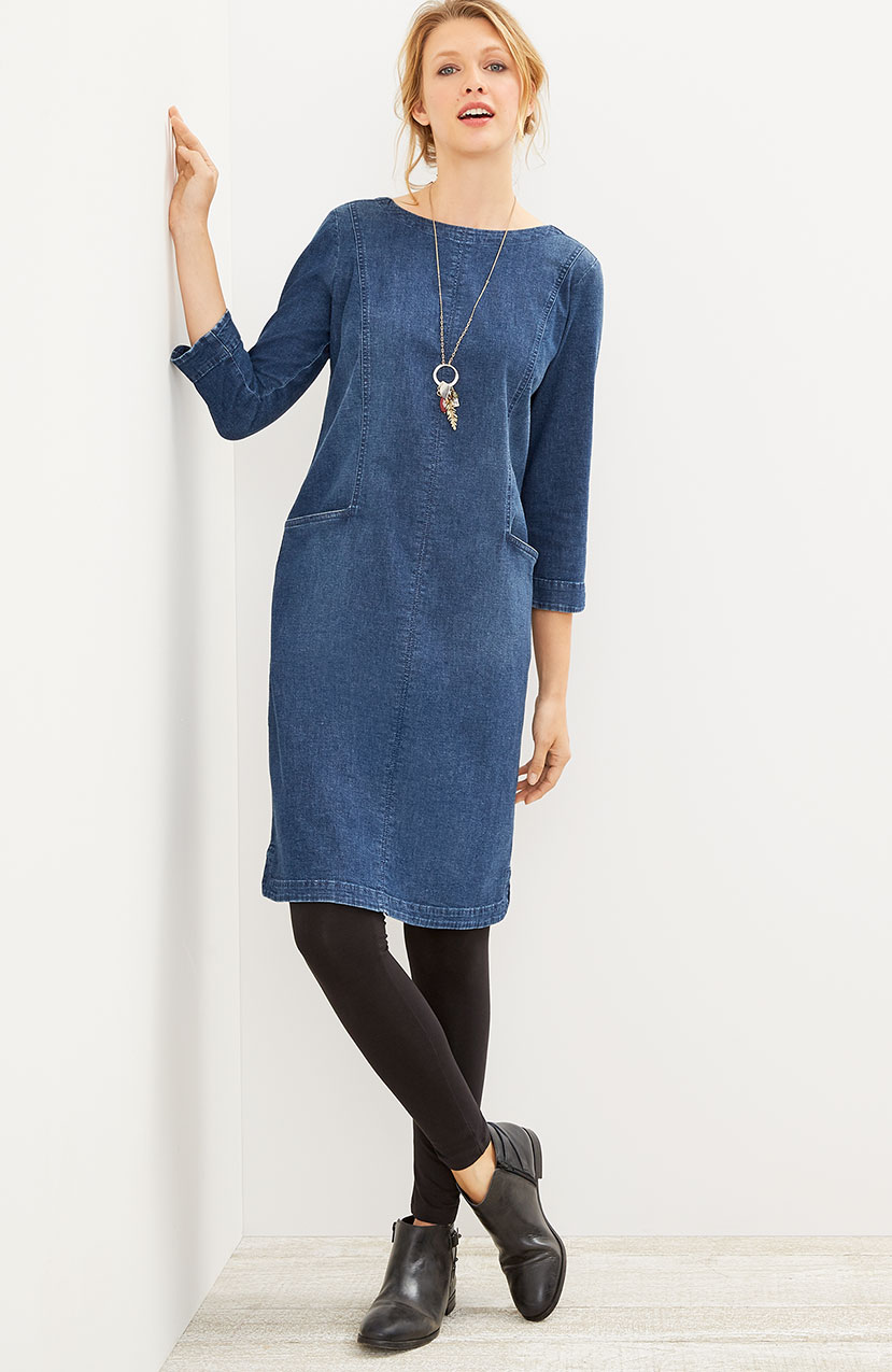 seamed denim-stretch dress