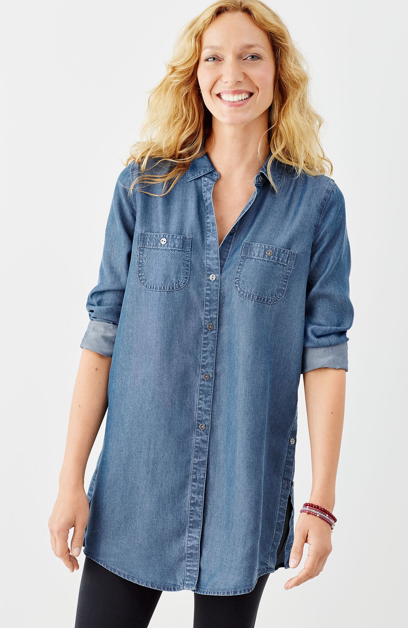 long indigo tunic