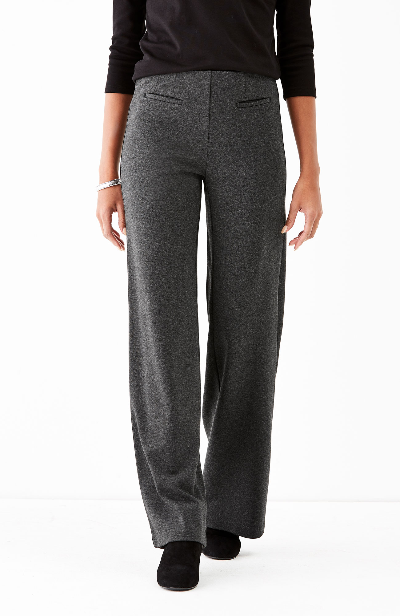 ponte knit full-leg pants