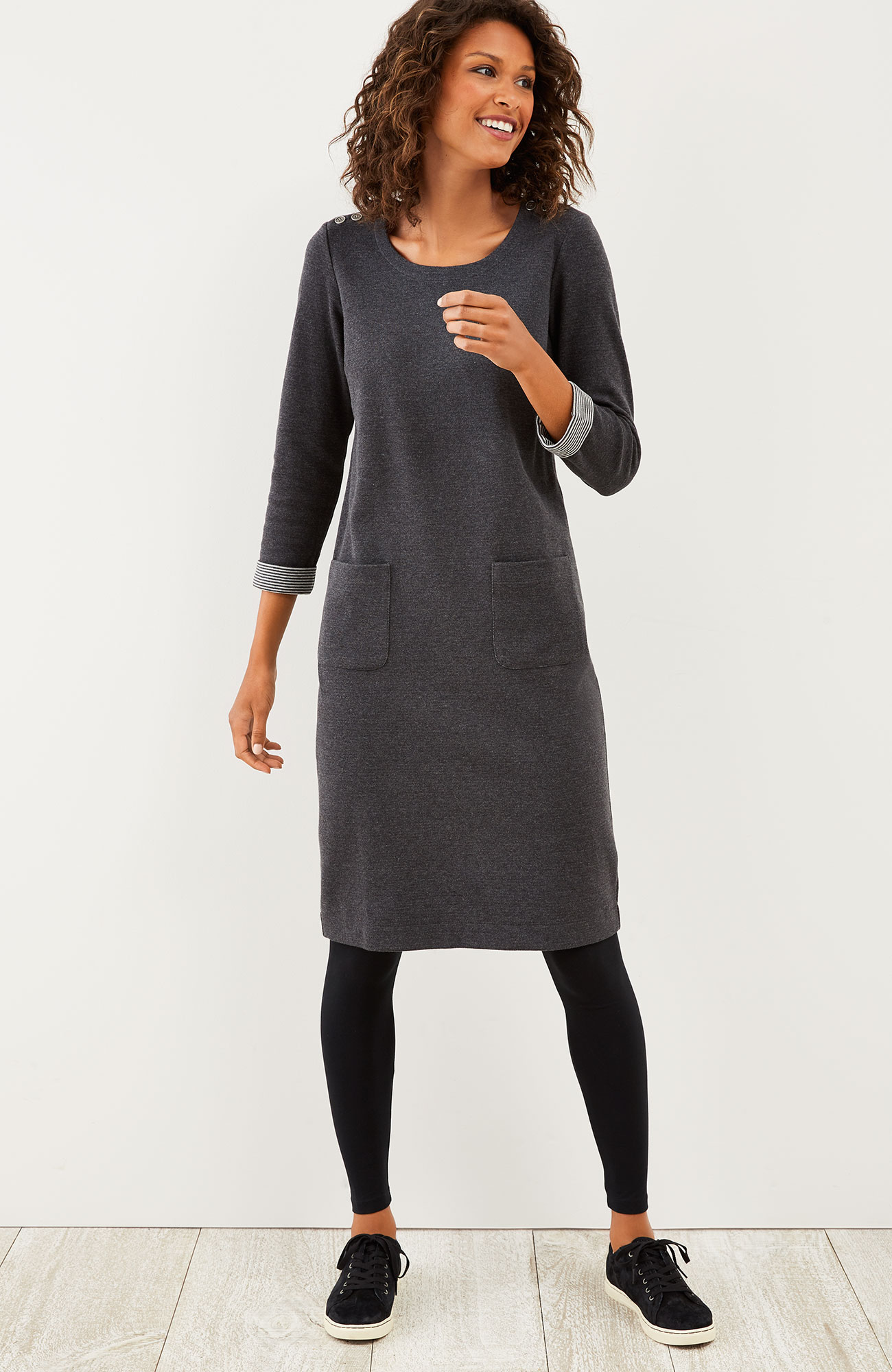 buttoned-shoulder knit dress