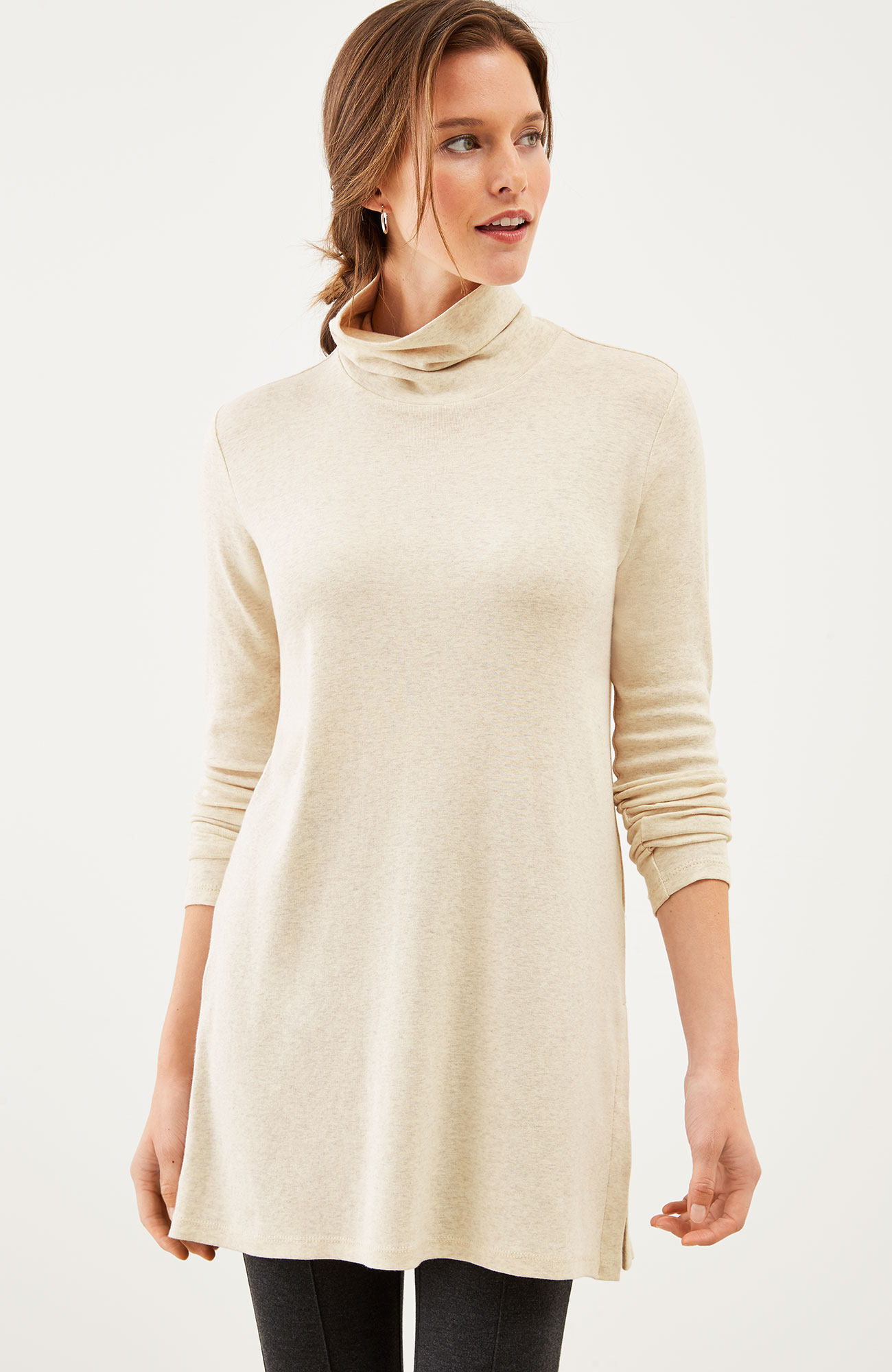 perfect pima side-vent turtleneck tunic
