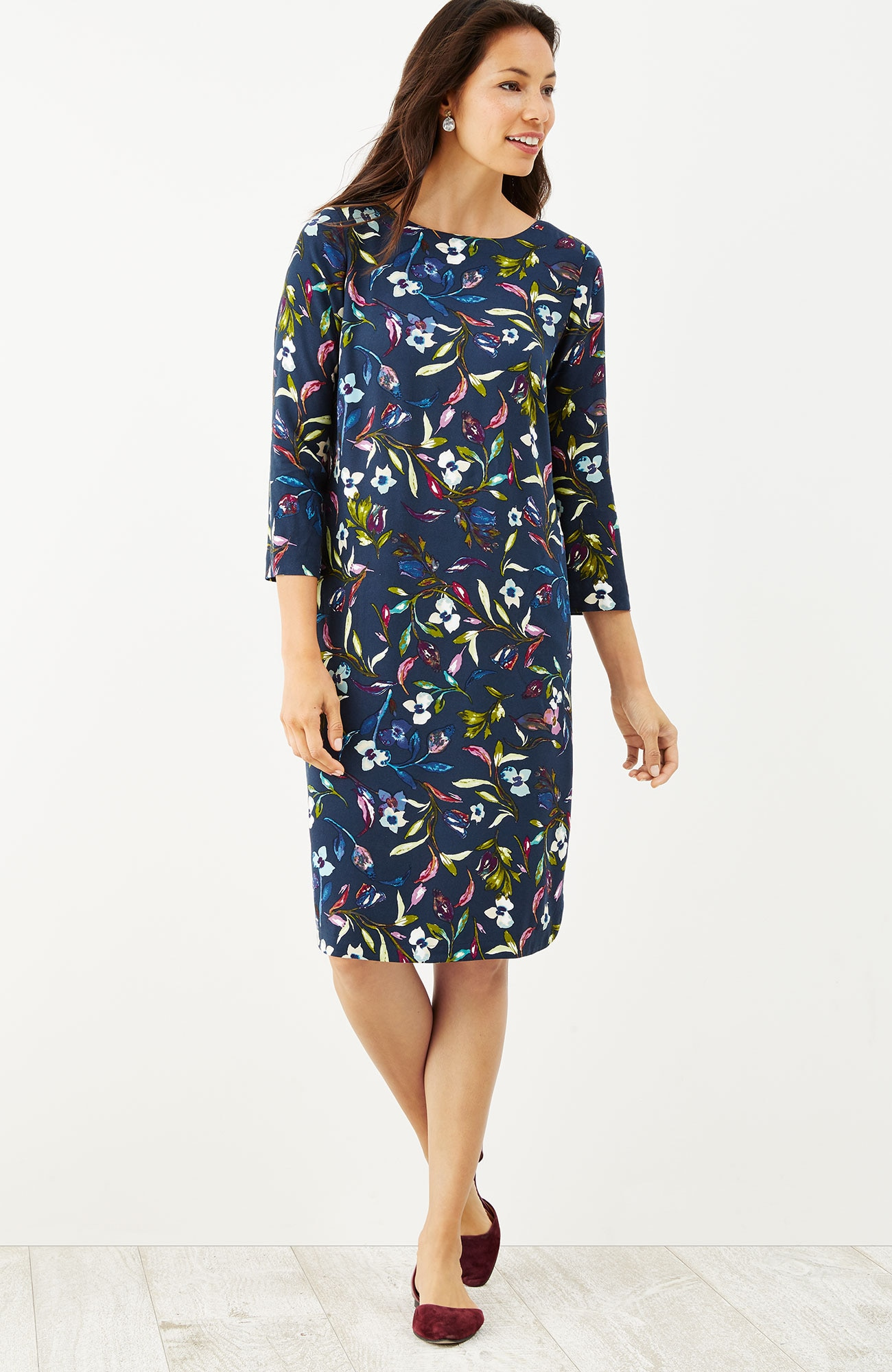 boat-neck floral dress