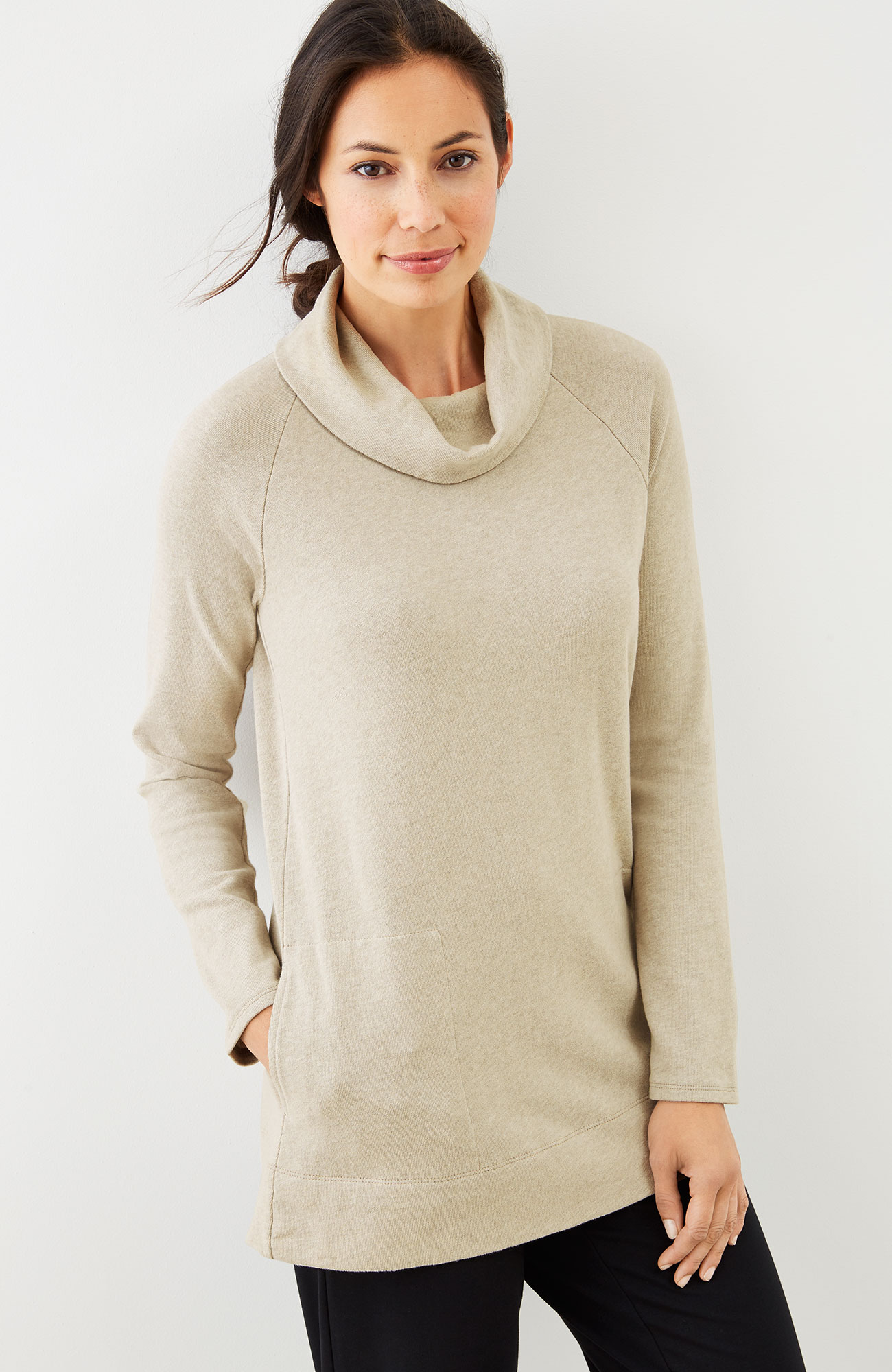 Pure Jill soft-touch cotton cowl-neck tunic
