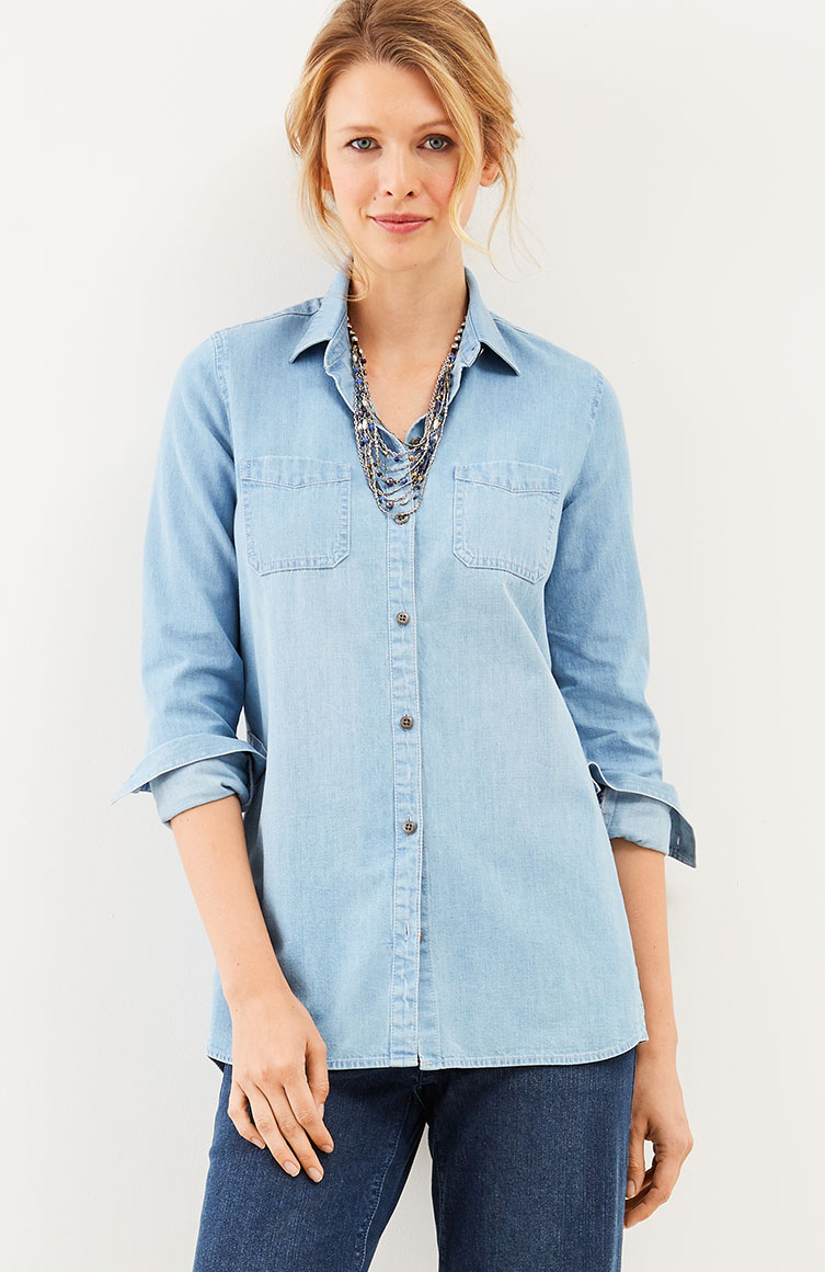 denim curved-hem shirt