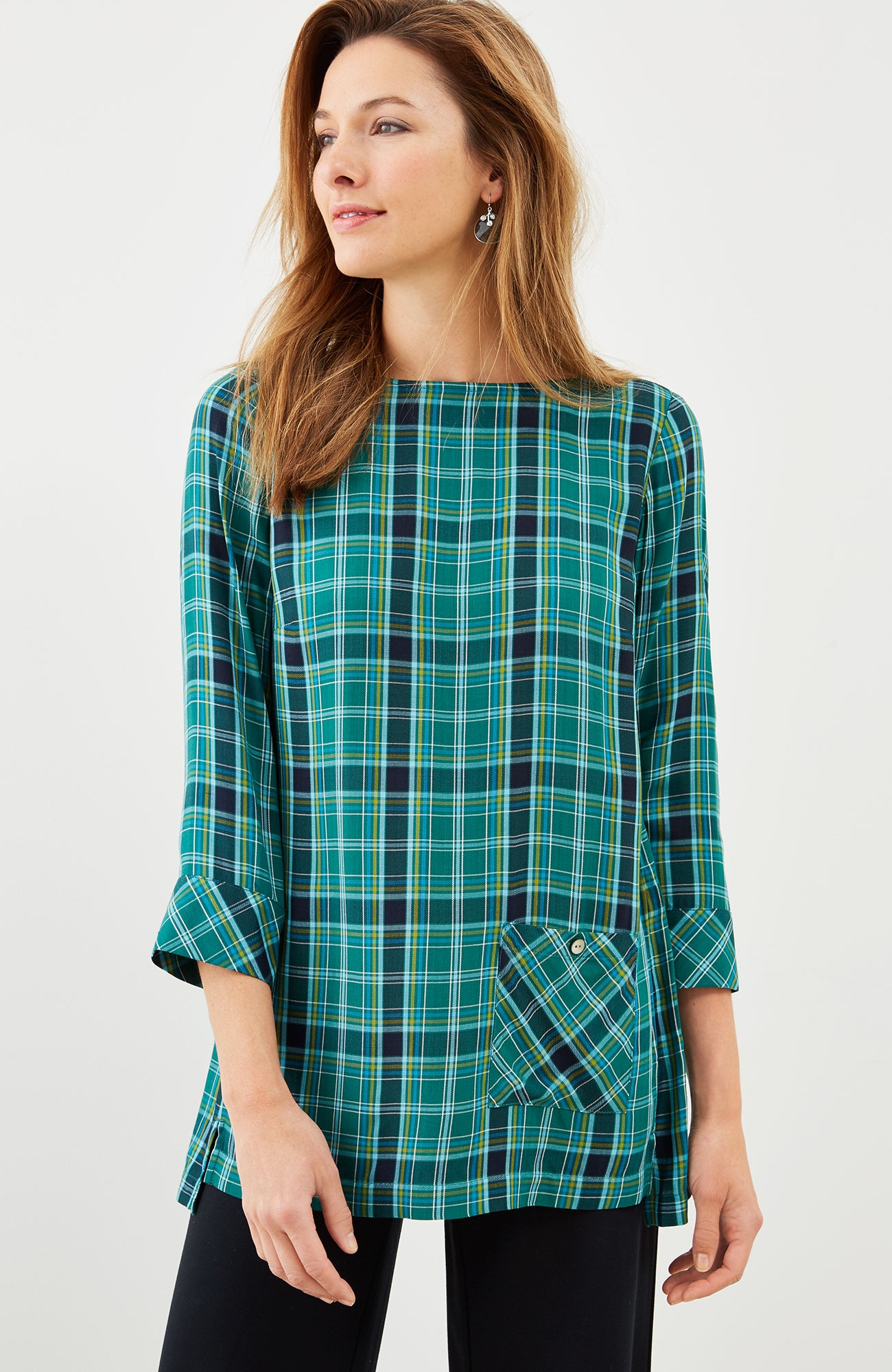 plaid boat-neck top