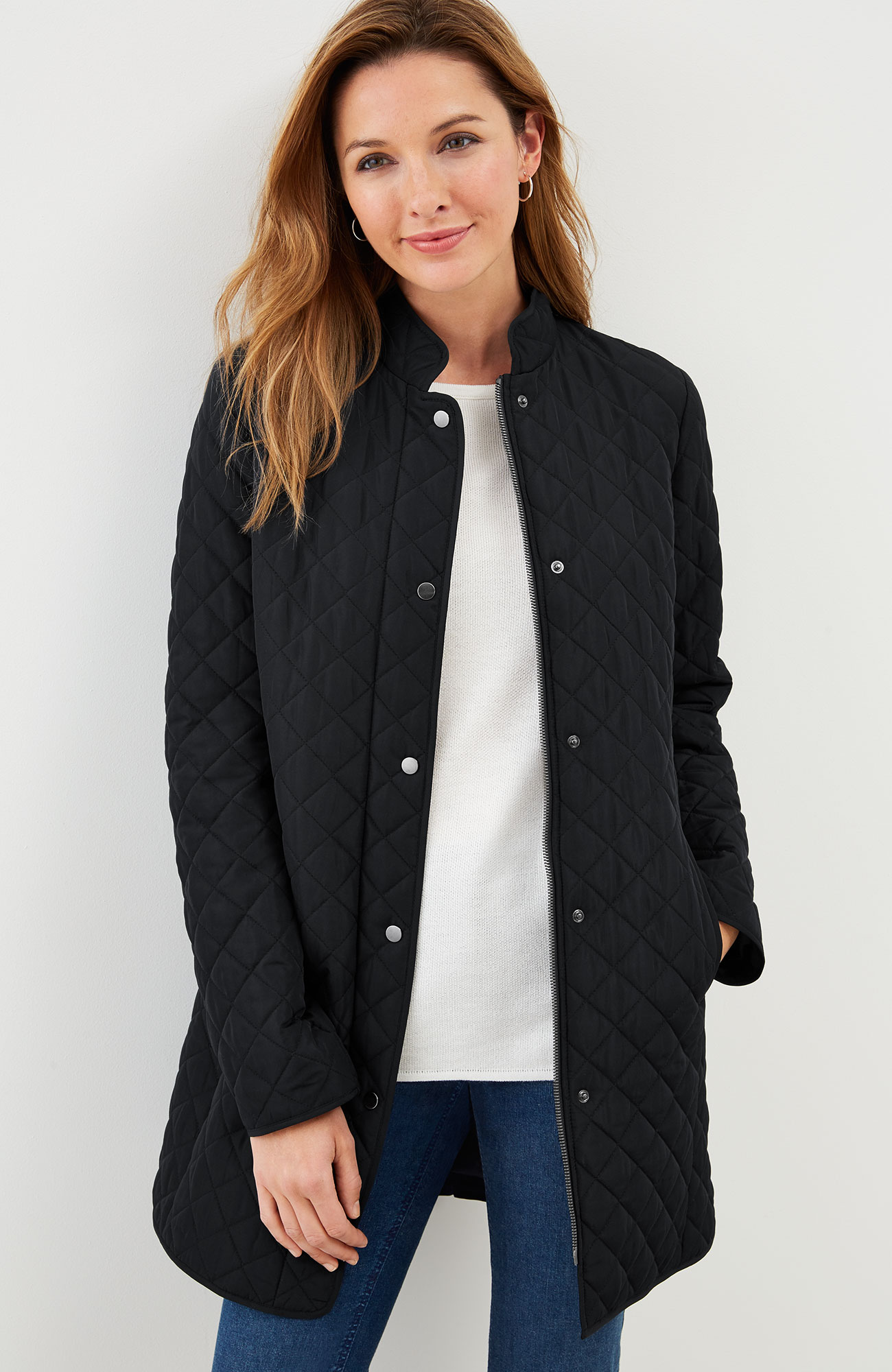 diamond-quilted zip-front jacket