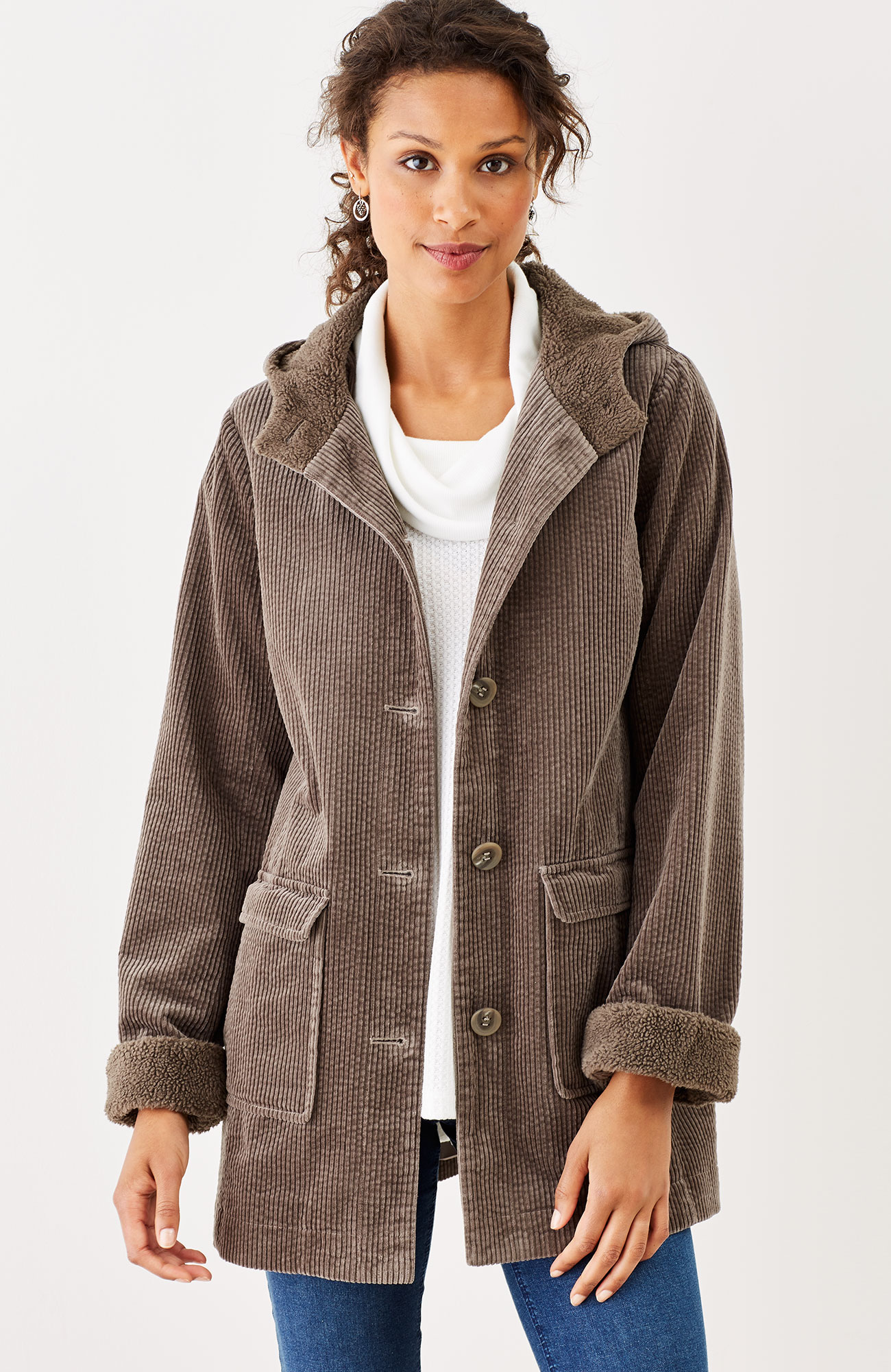 hooded tumbled-cord coat