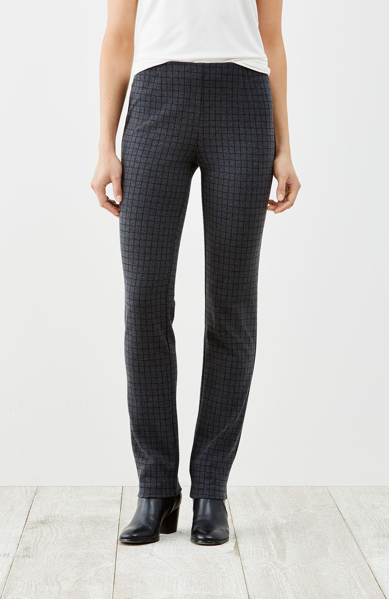 ponte knit slim-leg windowpane pants