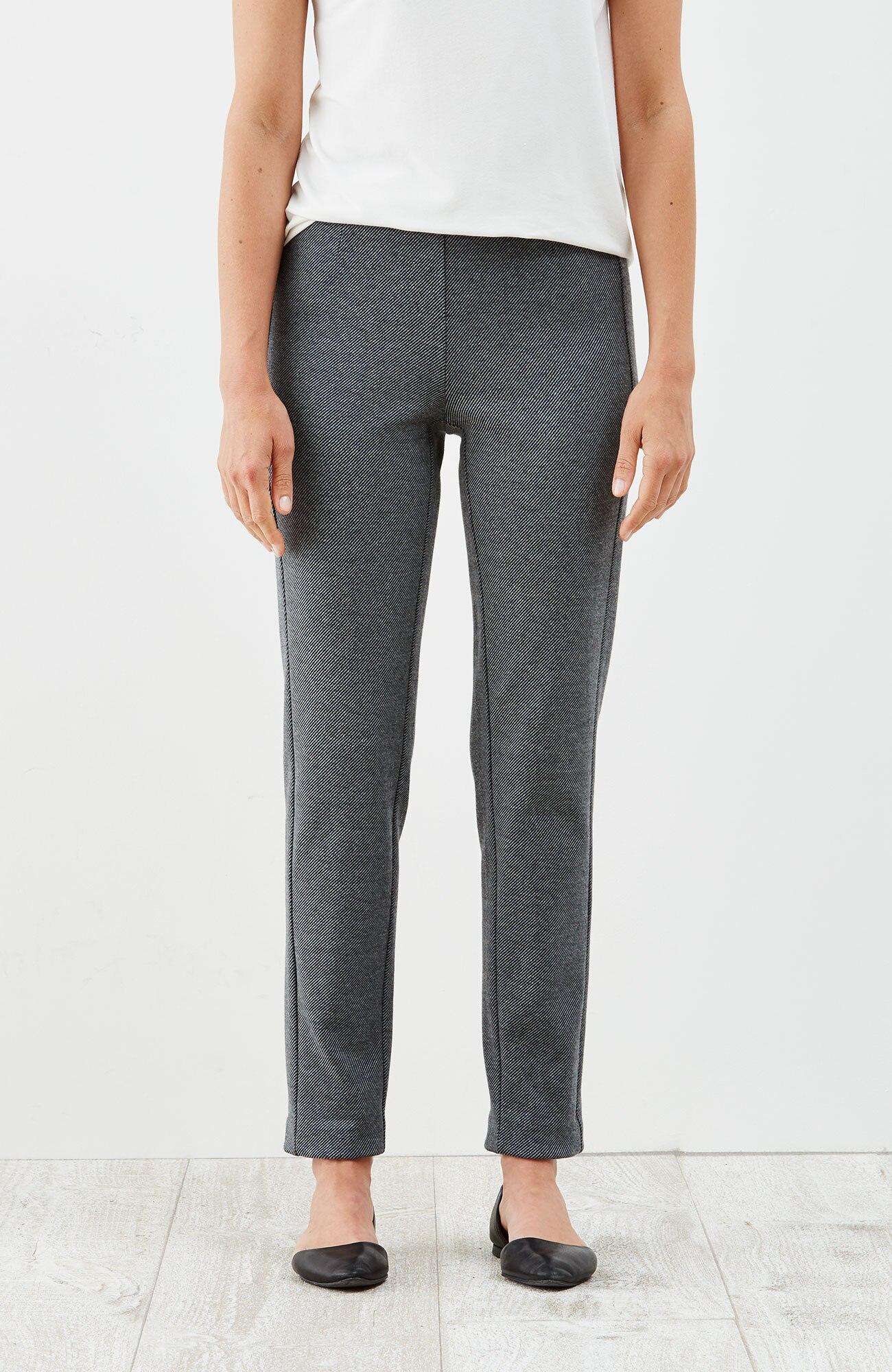 ponte knit slim-leg twill pants